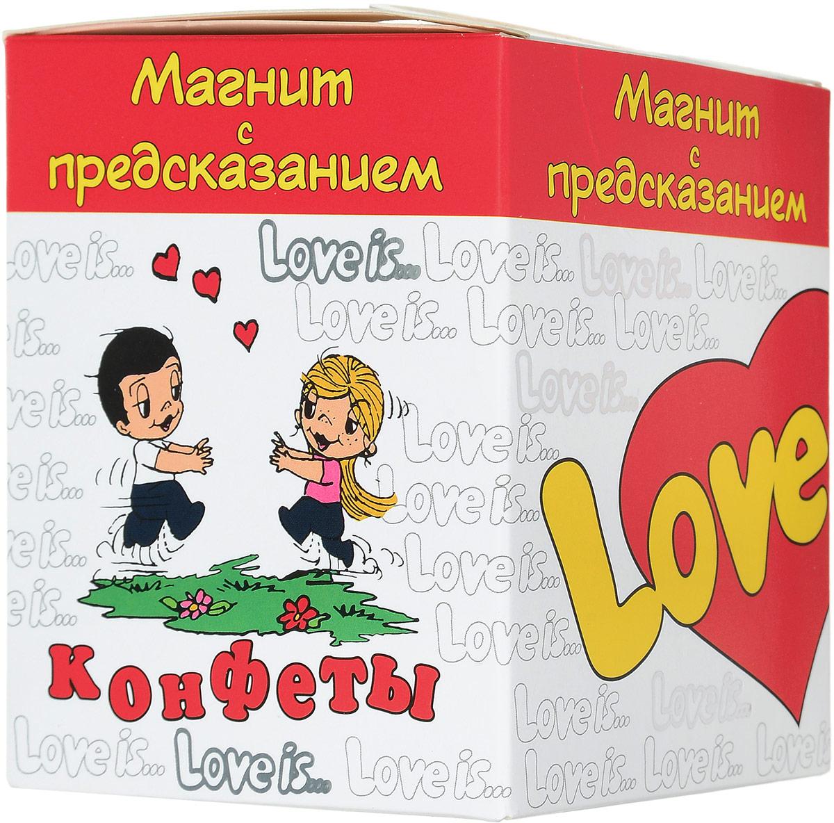 Love is Жевательные конфеты ассорти с жидким центром, 125 г79003060_новогодний дизайнВам знакомо то чувство, когда невыносимо хочется чего-нибудь сладкого? В этом нет ничего страшного, баловать себя полезно, ведь сладкое повышает ваш уровень эндорфинов - гормонов счастья.Жевательные конфеты Love is не только содержат вкусные ингредиенты, но и несет заряд хорошего настроения. Позвольте себе полакомиться от души и разделите это удовольствие со своими друзьями и близкими. Внутри коробки находится магнит с предсказанием о любви и уже знакомой парочкой влюбленных.Уважаемые клиенты! Обращаем ваше внимание, что полный перечень состава продукта представлен на дополнительном изображении.