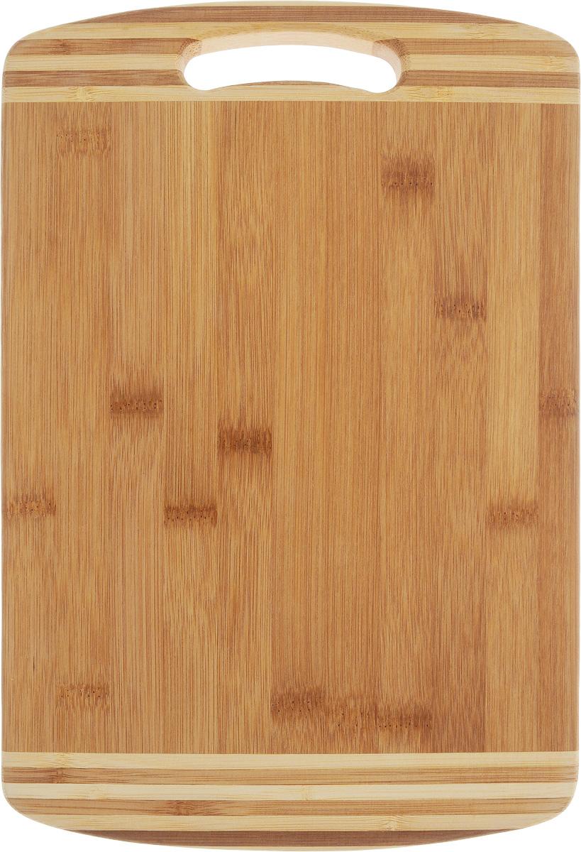 Доска разделочная Termico, с ручкой, 33 x 23 x 1,8 см54 009312Разделочная доска Termico выполнена из 100% натурального бамбука. Прочная, долговечная доска не боится воды и не впитывает запахи. Легко моется, бережно относится к лезвию ножа. По краям доска оснащена бортиком для стока жидкости и ручкой. Такая доска понравится любой хозяйке и будет отличной помощницей на кухне.