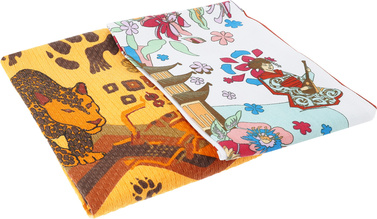"""Набор полотенец Bonita """"Путешествие. Гепард. Япония"""", 40 х 60 см, 2 шт"""