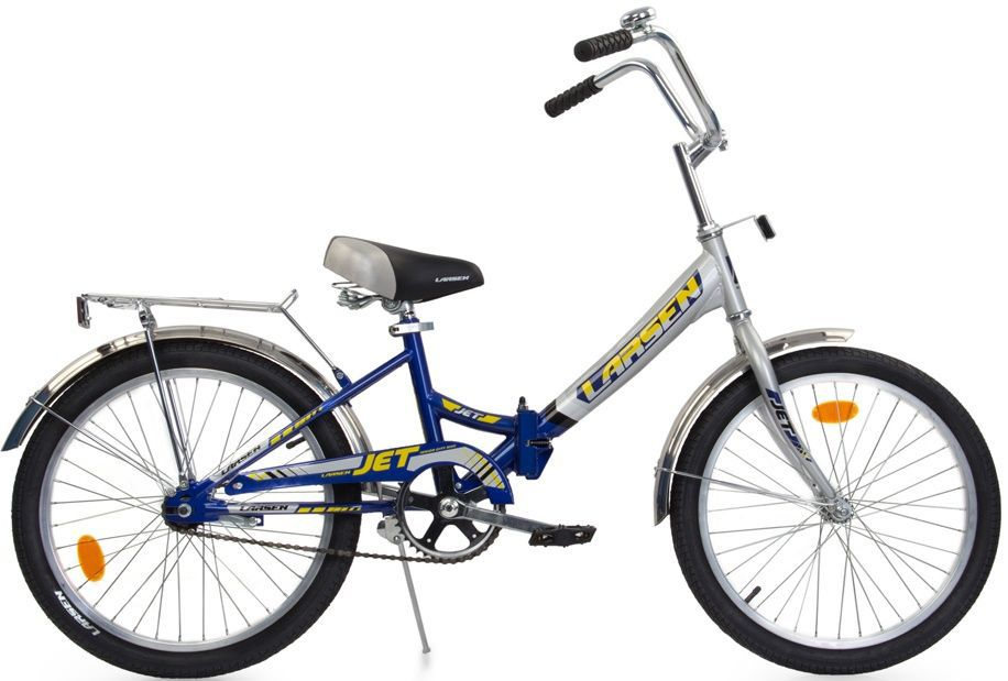 Велосипед Larsen Jet 20, цвет: серый, синий336221Велосипед Larsen Jet 20 - это складной подростковый велосипед, который станет прекрасным подарком для вашего ребенка. Велосипед идеально справится со своим прямым предназначением - катанием по асфальтированным и грунтовым дорогам. Модель прекрасно сконструирована: современный яркий дизайн, безопасность, удобная форма рамы - вот ее главные преимущества. Благодаря полноценной защите цепи, исключены попадание в цепь одежды и малейшая возможность случайно поцарапаться. У данной модели качественная, прочная, легкая и удобная рама из стали с жесткой вилкой, которая менее подвержена механическим повреждениям и коррозии в сырую погоду. Конструкция рамы - складная, это позволит компактно перевозить велосипед и хранить его в квартире. Мягкое подпружиненное седло велосипеда и руль регулируются по высоте, что придает комфорт, делая прогулки по городу более удобными. Колесадиаметром 20 дюймов с покрышками Wanda и алюминиевыми ободами обладают хорошей маневренностью, ускорением и накатом. Ножной педальный тормоз отличается предельной простотой в использовании и надежностью. Чтобы привести его в действие, нужно вращать педали в обратную сторону. Велосипед оснащен полноразмерными крыльями, которые спасают от грязи, что делает его еще более практичным. Приятным и полезным дополнением служат подножка и багажник. Подростковый велосипед Larsen Jet 20 послужит идеальным спутником для отважных велосипедистов, предпочитающих активный образ жизни. Характеристики:Рама: стальВилка: жёсткая, стальКоличество скоростей: 1Размер колес: 20Резина: WANDA p1079Передний переключатель: нетЗадний переключатель: нетОбода: алюминий 6061-t6 Втулка передняя: fr-03 сталь Втулка задняя: cf-e10 сталь Тормоза: втулочные, ножные тормоза Дополнительное оборудование: отражатели, подножка