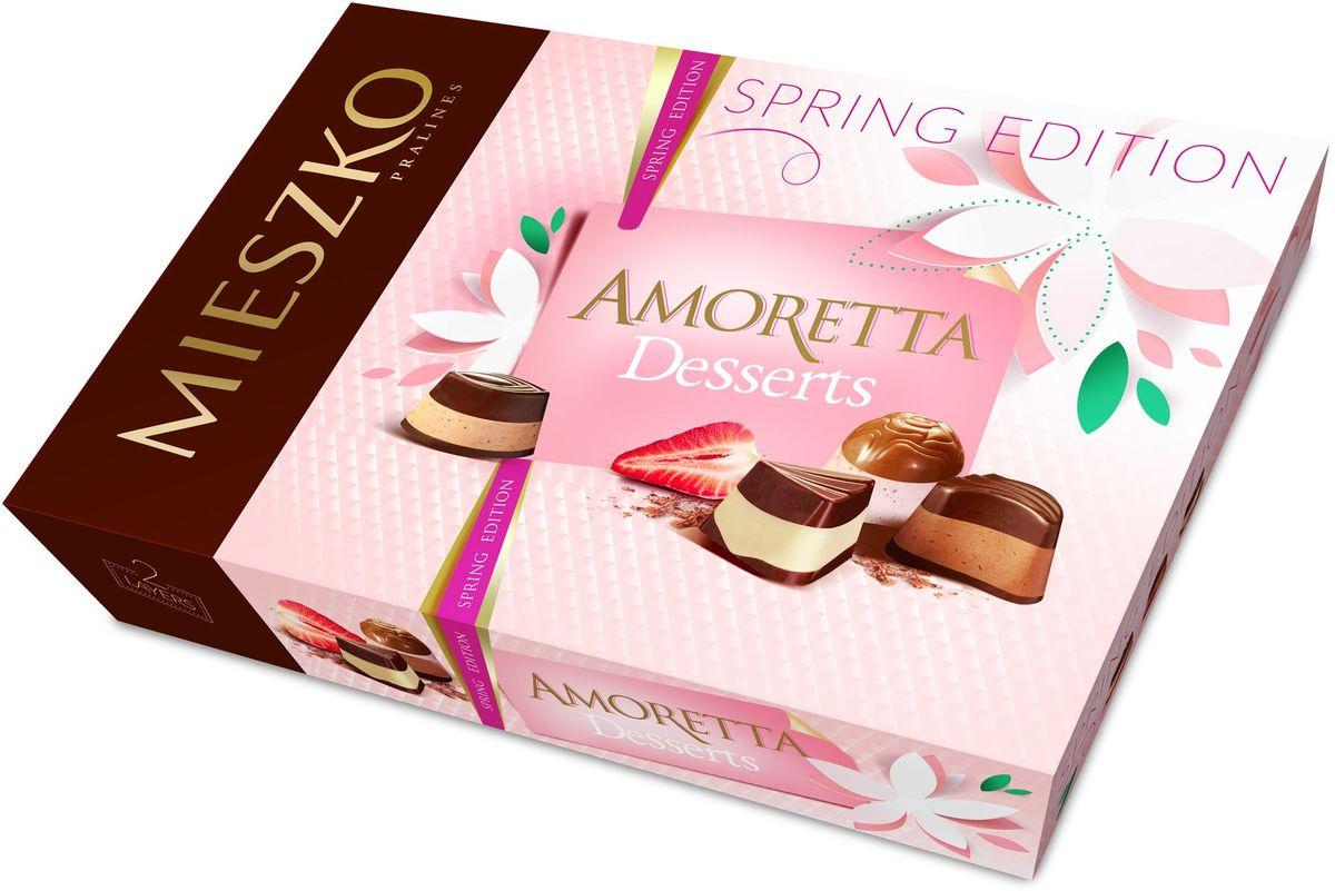 Mieszko Аморетта десерт набор шоколадных конфет, 324 г0120710Шоколадные конфеты Аморетта классик - это ассорти изысканных шоколадных конфет из качественного шоколада с различными благородными начинками. Интенсивные начинки в каждой шоколадной конфете Амортетта классик непременно придутся по вкусу настоящим ценителям качественного шоколада. Каждая конфета Аморетта классик - само наслаждение! Благородная упаковка делает эти конфеты не только прекрасным лакомством, но и отличным подарком для своих близких.