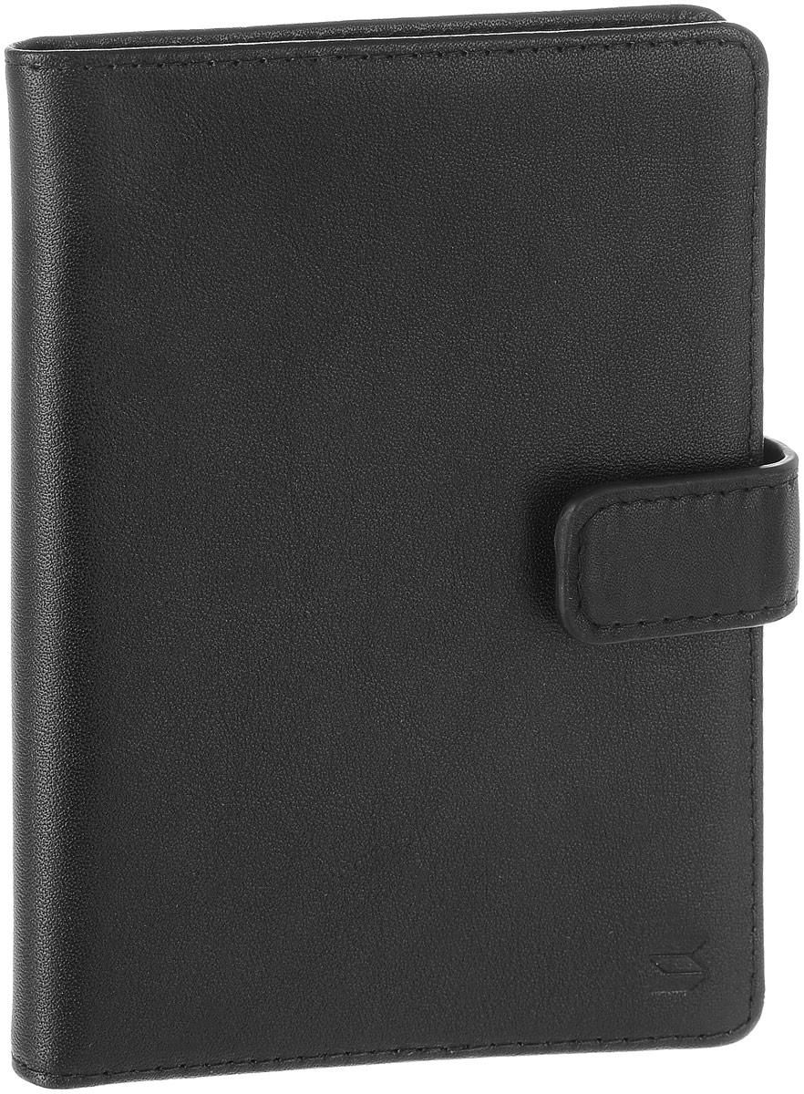 Обложка для автодокументов Soltan, цвет: черный. 051 01 01INT-06501Обложка для автодокументов Soltan выполнена из натуральной кожи.Изделие раскладывается пополам и закрывается на хлястик с кнопкой. Обложка содержит съемный блок из шести прозрачных файлов из мягкого пластика, один из которых формата А5, четыре боковых кармана и восемь прорезных карманов для пластиковых карт, два из которых с сетчатым окошком.Изделие упаковано в фирменную коробку.Модная обложка для автодокументов поможет сохранить их внешний вид и защитить от повреждений.