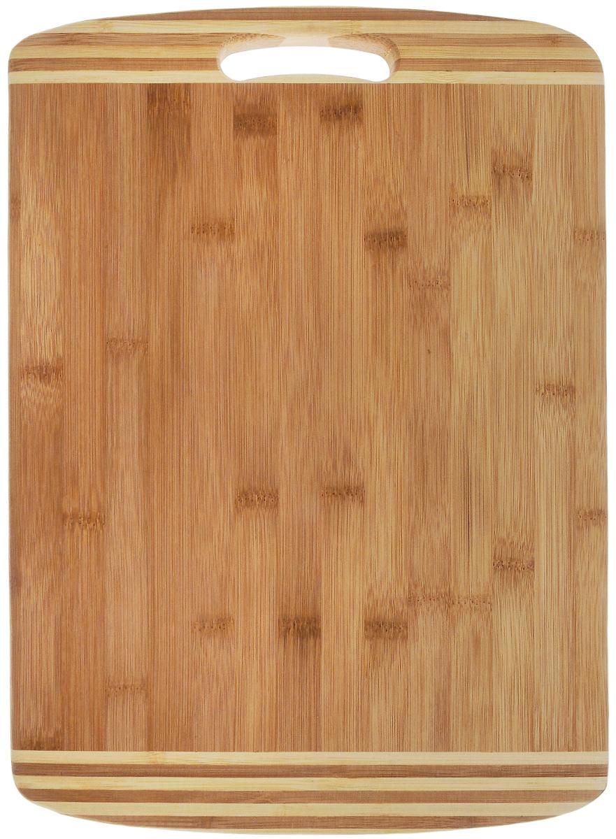Доска разделочная Termico, с ручкой, 39 x 30 x 1,8 см115510Разделочная доска Termico выполнена из 100% натурального бамбука. Прочная, долговечная доска не боится воды и не впитывает запахи. Доска подходит для любых продуктов, при резке не тупит ножи, она удобна в использовании и не требует особого ухода.Такая доска понравится любой хозяйке и будет отличной помощницей на кухне.
