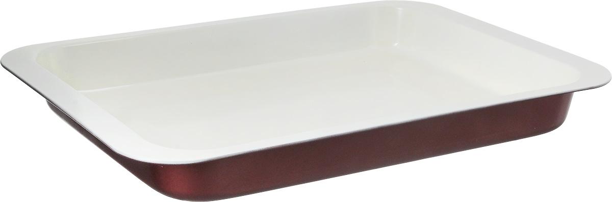 Противень Tescoma EcoCeramo, прямоугольный, с антипригарным покрытием, 42 x 28,5 х 4,5 смFS-91909Противень Tescoma EcoCeramo, выполненный из высококачественной углеродистой с антипригарным покрытием, идеально подойдет для приготовления домашней выпечки.Покрытие изготовлено на основе керамических частиц без использования тяжелых металлов. Посуда с керамическим покрытием легко моется, устойчива к возникновению царапин, покрытие хорошо скользит. Керамическое покрытие не вступает в реакцию с щелочами и пищевыми кислотами, выдерживает высокие температуры, обладает хорошими антипригарными свойствами.Подходит для использования во всех типах духовых шкафов.Размер противня (с учетом ручек): 42 x 28,5 х 4,5 см.Внутренний размер противня: 37 х 26,5 х 4 см.