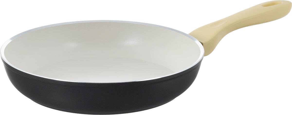 Сковорода Attribute Avorio, с керамическим покрытием. Диаметр 26 см68/5/4Сковорода Attribute Avorio изготовлена из алюминия с высококачественным керамическим покрытием. Керамика не содержит вредных примесей ПФОК, что способствует здоровому и экологичному приготовлению пищи. Кроме того, с таким покрытием пища не пригорает и не прилипает к стенкам, поэтому можно готовить с минимальным добавлением масла и жиров. Гладкая, идеально ровная поверхность сковороды легко чистится.Эргономичная ручка специального дизайна выполнена из пластика с покрытием soft-touch, удобна в эксплуатации.Сковорода подходит для использования на всех типах плит, кроме индукционных. Также изделие можно мыть в посудомоечной машине.Высота стенки: 5 см. Длина ручки: 20 см.