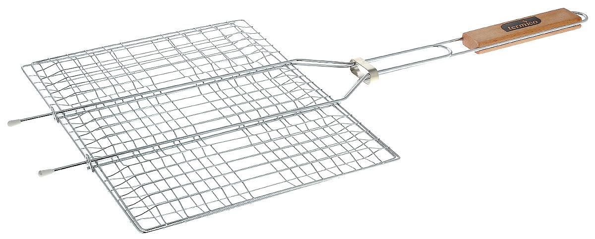 Решетка-гриль Termico, 35 х 25 х 1,5 см00000927Решетка-гриль Termico предназначена для приготовления мяса, шашлыков, окороков, колбасок, сосисок, рыбы, овощей и прочих продуктов на открытой шашлычнице, в камине, на костре. Решетка изготовлена из высококачественной стали с хромированным покрытием, что облегчает процесс мытья решетки. Деревянная ручка облегчает эксплуатацию изделия и исключает возможность получения ожога. В производстве используются только экологически чистые материалы. Приготовления продуктов с помощью решетки не требует использования жиров и масел, поэтому в продуктах сохраняются все полезные компоненты и не образуются вредные для организма вещества.Размер решетки: 35 х 25 х 1,5 см.Общая длина решетки (с ручкой): 60 см.