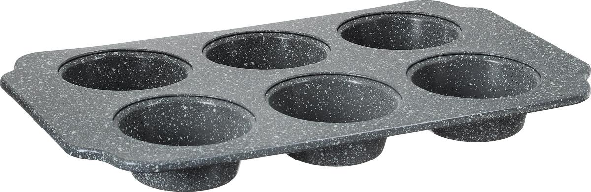 Форма для выпечки мини-кексов Termico Granito, с антипригарным покрытием, 30 х 18 х 2,5 смFS-91909Форма для выпечки Termico Granito изготовлена из металла с высококачественным антипригарным покрытием. С таким покрытием пища не пригорает и не прилипает к стенкам. Форма содержит 6 ячеек в виде небольших кексов. Простая в уходе и долговечная в использовании форма будет верной помощницей в создании ваших кулинарных шедевров. Подходит для всех типов духовых шкафов. Можно мыть в посудомоечной машине.Размер формы: 30 х 18 х 2,5 см.Размер ячейки: 6,7 х 6,7 х 2,5 см.