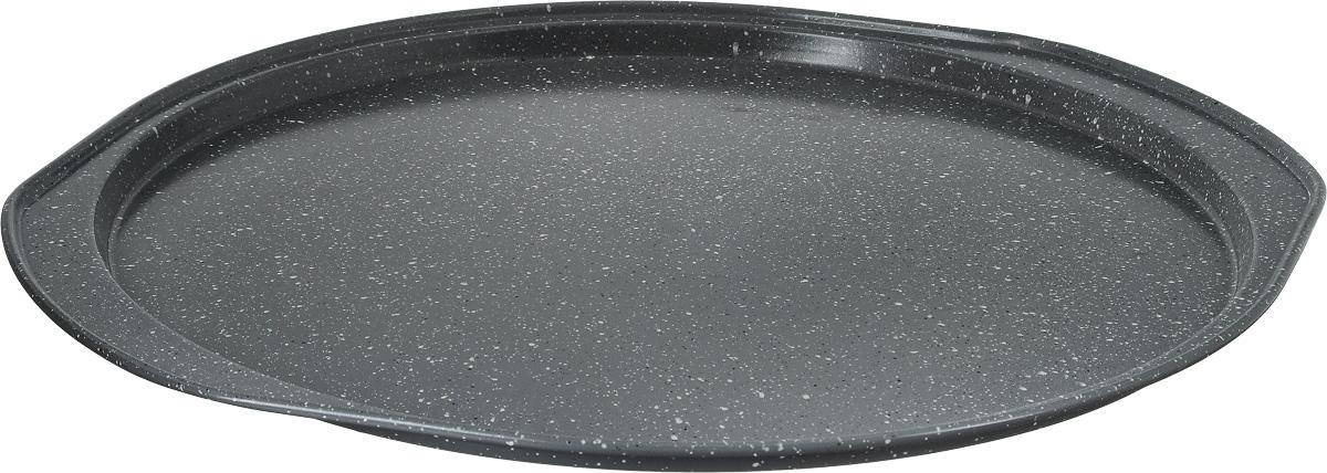 Форма для пиццы Termico Granito, с антипригарным покрытием, 35 х 33 х 1,5 см623296Круглая форма для пиццы Termico Granito изготовлена из углеродистой стали с керамическим антипригарным покрытием. Покрытие экологичное и безопасное для здоровья, оно не содержит примеси PFOA, свинца и кадмия. Благодаря антипригарному покрытию нет необходимости использовать подсолнечное масло. Пища не пригорает и не прилипает к стенкам, легко достается из формы, сохраняя при этом аккуратный внешний вид. Изделие снабжено удобными ручками. Оно прослужит долго и обеспечит легкое и удобное приготовление вашей любимой пиццы. Можно использовать в духовом шкафу при температуре до 250°С. Внутренний диаметр формы: 31 см.Размер формы с учетом ручек: 35 х 33 х 1,5 см.