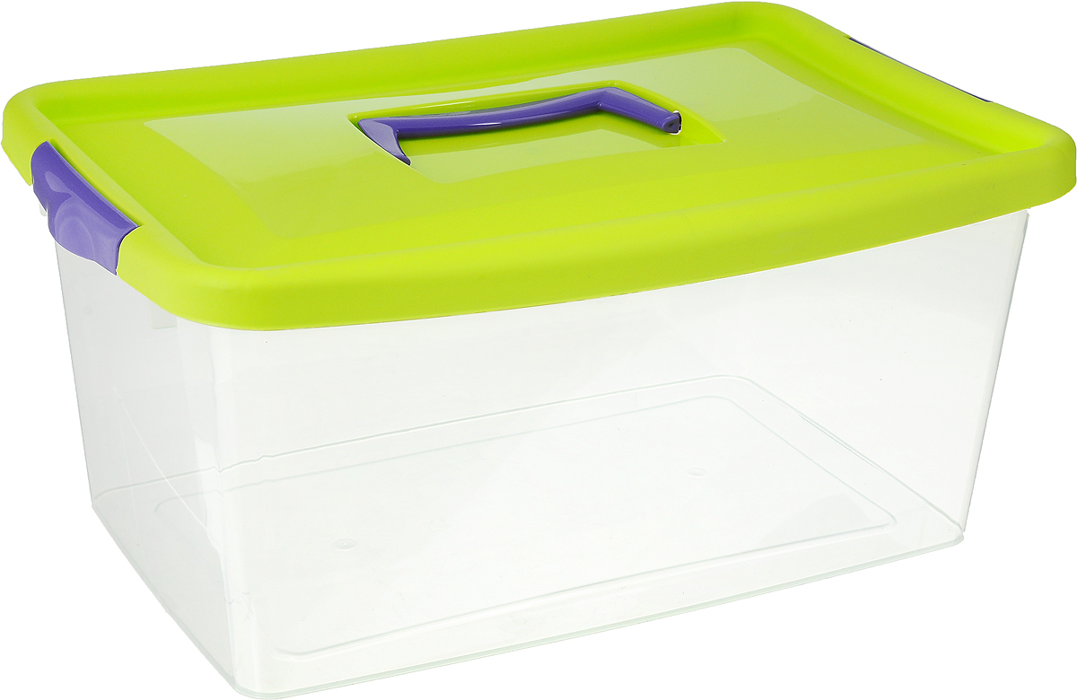 Контейнер для хранения Idea, цвет: прозрачный, салатовый, фиолетовый, 9 лБрелок для ключейКонтейнер для хранения Idea выполнен из высококачественного полипропилена. Изделие оснащено двумя пластиковыми фиксаторами по бокам, придающими дополнительную надежность закрывания крышки. Вместительный контейнер позволит сохранить различные нужные вещи в порядке, а герметичная крышка предотвратит случайное открывание, защитит содержимое от пыли и грязи. Объем: 9 л.Размер контейнера (с учетом крышки): 36,8 х 24,3 х 17 см.