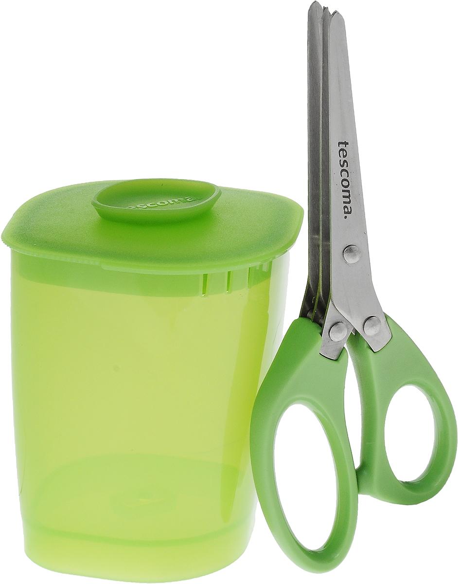 Ножницы для зелени Tescoma Presto, с емкостью, 2 предмета115510Ножницы Tescoma Presto прекрасно подходят для быстрой и легкой мелкой нарезки свежей зелени. Оснащены тремя рядами лезвий. В комплекте входит пластиковый контейнер для нарезки и хранения зелени. Ножницы изготовлены из высококачественной нержавеющей стали и прочного пластика. Такой комплект аксессуаров отлично подходит для быстрой, безопасной и мелкой резки зелени. Предметы можно мыть в посудомоечной машине. Длина ножниц: 16 см. Длина лезвия ножниц: 7,5 см. Размер емкости (с учетом крышки): 9 х 7,5 х 10 см.