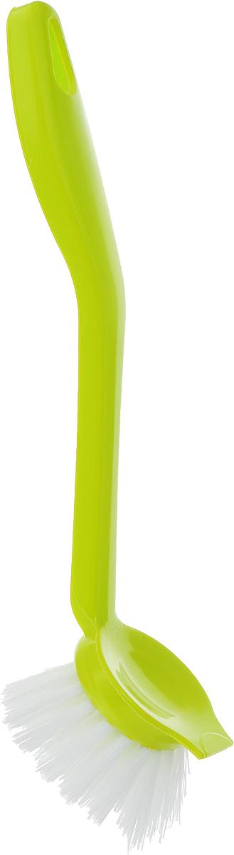 Щетка для мытья посуды Idea Колибри, со скребком, цвет: салатовый, длина 23 смМ 5201_салатовыйЩетка Idea Колибри изготовлена из полипропилена и предназначена для мытья посуды. Щетка оснащена скребком и эргономичной ручкой. Ворс обладает достаточной жесткостью для качественного мытья загрязненных поверхностей. На ручке имеется отверстие для подвешивания на крючок. Такая щетка позволит качественно и быстро помыть посуду.Длина щетки: 23 см.Длина ворса: 2,5 см.