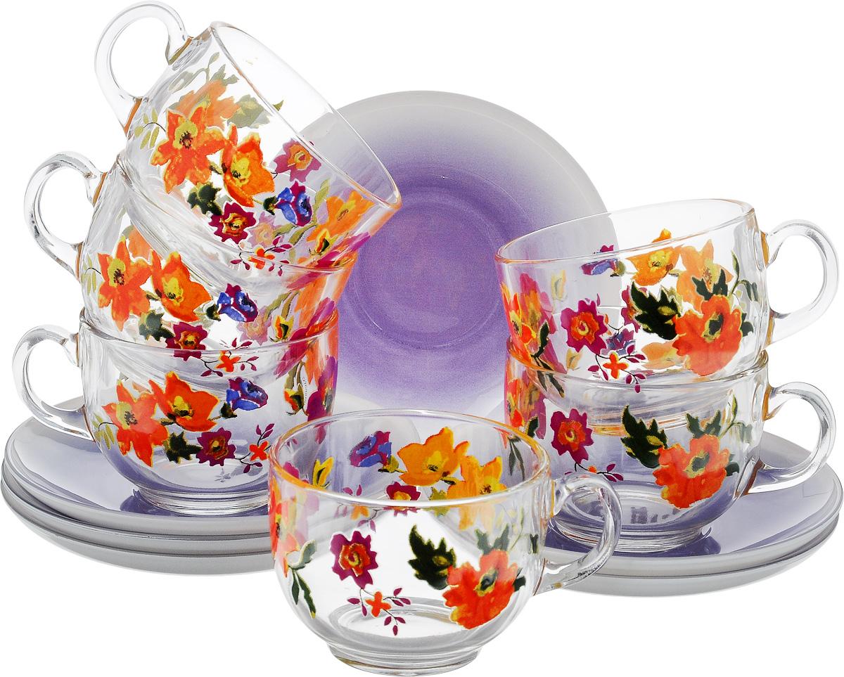 Набор чайный Luminarc Мариса Пурпл, цвет: прозрачный, фиолетовый, оранжевый, 12 предметовСЧН 01.15Ж103Чайный набор Luminarc Мариса Пурпл состоит из шести чашек и шести блюдец, выполненных из стекла. Изделия оформлены ярким рисунком. Изящный набор эффектно украсит стол к чаепитию и порадует вас функциональностью и ярким дизайном. Можно мыть в посудомоечной машине.Диаметр чашки (по верхнему краю): 8 см.Высота чашки: 6 см.Объем чашки: 220 мл. Диаметр блюдца: 13,5 см.Высота блюдца: 2 см.