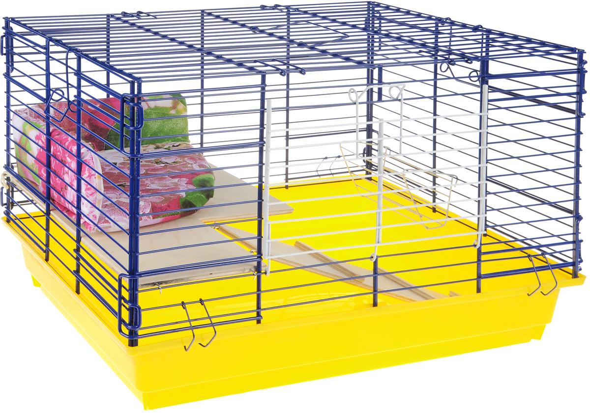 Клетка для кроликов ЗооМарк, 2-этажная, цвет: желтый поддон, синяя решетка, 59 х 39 х 41 см640СЗКлетка для кроликов ЗооМарк, выполненная из металла и пластика, предназначена для содержания вашего любимца. Клетка имеет прямоугольную форму, очень просторна, оснащена съемным поддоном. Она очень легко собирается и разбирается. Для удобства вашего питомца в клетке предусмотрен мягкий уголок, в котором кролик сможет отдохнуть. Такая клетка станет для вашего питомца уютным домиком и надежным убежищем.