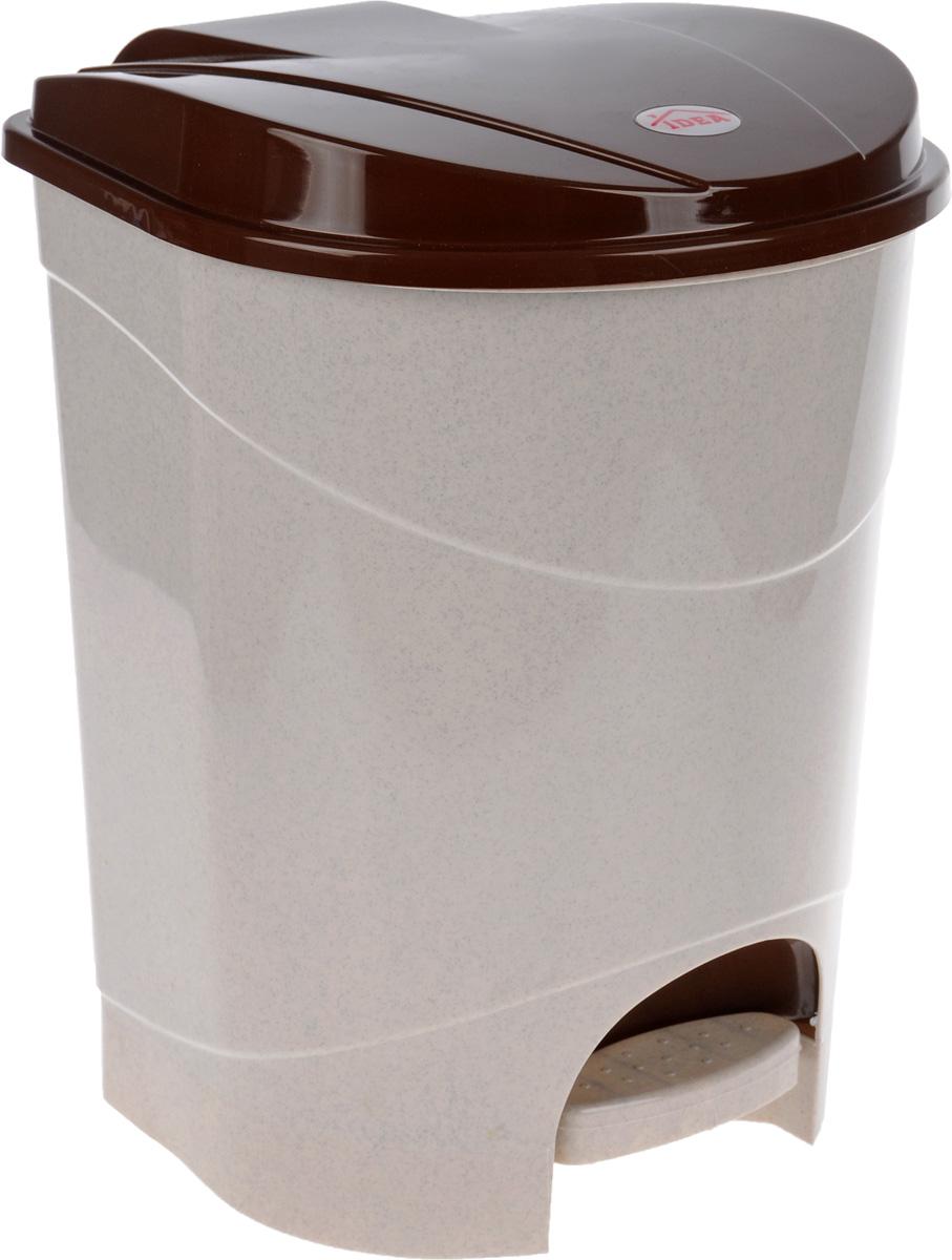 Контейнер для мусора Idea, с педалью, цвет: бежевый, коричневый, 19 лSVC-300Мусорный контейнер Idea, выполненный из прочного полипропилена, оснащен педалью, с помощью которой можно открыть крышку. Закрывается крышка практически бесшумно, плотно прилегает, предотвращая распространение запаха. Внутри пластиковая емкость для мусора, которую при необходимости можно достать из контейнера. Интересный дизайн разнообразит интерьер кухни и сделает его более оригинальным.Размер контейнера: 31 х 31 х 39,5 см.