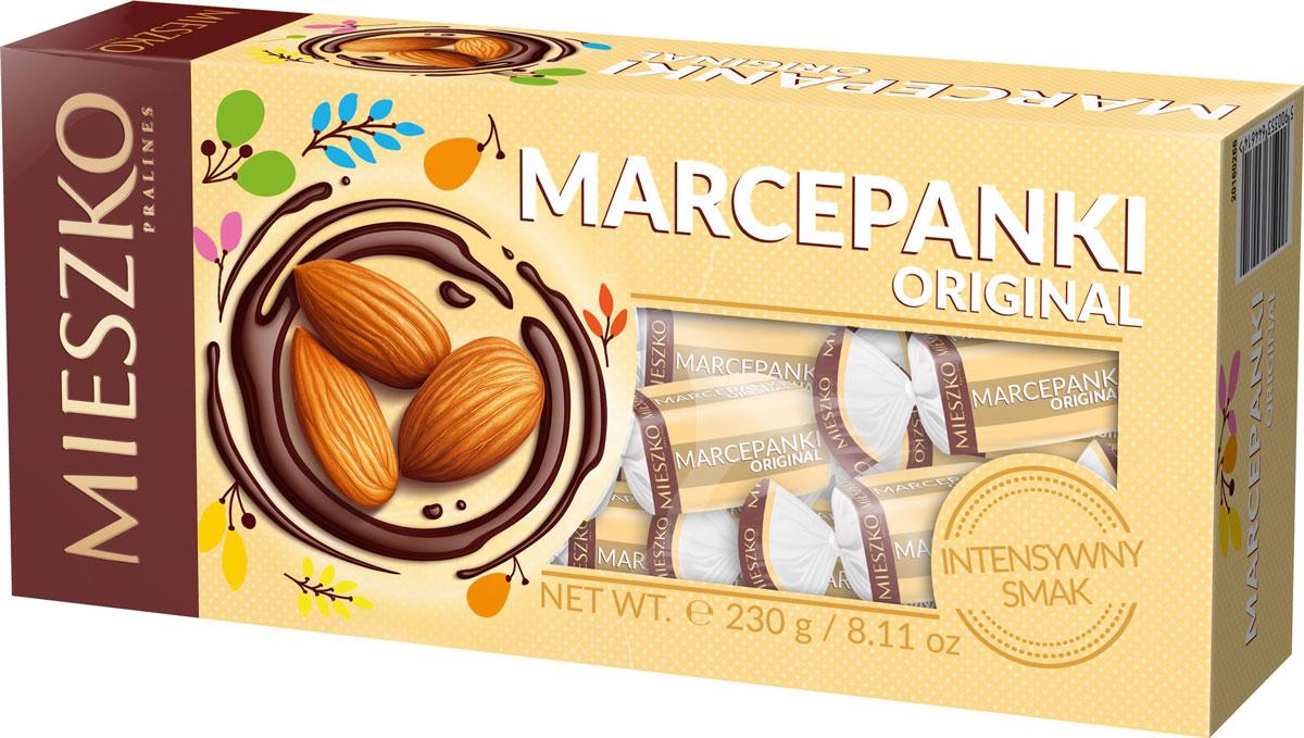 Mieszko Марципан набор шоколадных конфет, 230 г0120710Приятное лакомство из миндального марципана, покрытого глазурью из темного шоколада. В марципановых конфетах Mieszko соединились два излюбленных лакомства мира сладостей: изысканный миндальный марципан и качественный шоколад. Это лакомство понравится всем тем, кто предпочитает чистые классические вкусы. Конфеты покрыты самой лучшей шоколадной глазурью и не содержат консервантов.