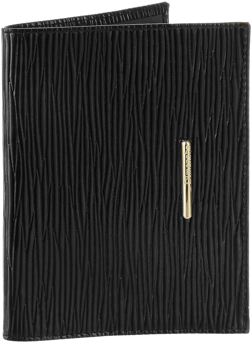 Обложка для паспорта женская Dimanche Nice, цвет: черный. 740740Женская обложка для паспорта Dimanche Nice, выполненная из натуральной лакированной кожи, оформлена оригинальным тиснением и металлическим элементом с фирменной гравировкой. Внутри расположены боковые прозрачные карманы из ПВХ для фиксации паспорта. Изделие упаковано в фирменную коробку. Такая обложка не только поможет сохранить внешний вид ваших документов, но и станет стильным аксессуаром, идеально подходящим вашему образу.
