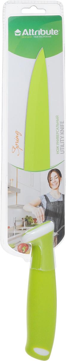 Нож универсальный Attribute Knife Spring Green, длина лезвия 19 смCB-01-ПавлинУниверсальный нож Attribute Knife Spring Green изготовлен из высококачественной стали. Очень удобная и эргономичная рукоятка, выполненная из резиновой смеси, не позволит ножу скользить в вашей руке обеспечит безопасность при нарезке продуктов. Нож предназначен для нарезки мяса, овощей и фруктов.Такой нож займет достойное место среди аксессуаров на вашей кухне.Длина лезвия: 19 см.Общая длина ножа: 32,5 см.