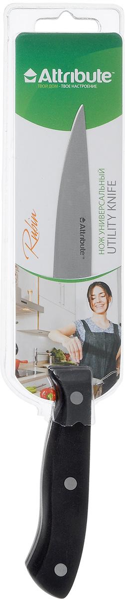 Нож универсальный Attribute Knife Rubin, длина лезвия 12 см94672Универсальный нож Attribute Knife Rubin предназначен для нарезки различных продуктов. Лезвие выполнено из высококачественной нержавеющей стали. Эргономичная рукоятка, выполненная из бакелита, не скользит в руках и делает нарезку удобной и безопасной. Благодаря уникальной формуле стали и качеству ее обработки, лезвие имеет высокий показатель твердости, что позволяет ему долго сохранять острую заточку.Нож Attribute Knife Rubin идеально шинкует, нарезает и измельчает продукты. Он займет достойное место среди аксессуаров на вашей кухне. Можно мыть в посудомоечной машине.Длина лезвия: 12 см.Общая длина ножа: 23,5 см.