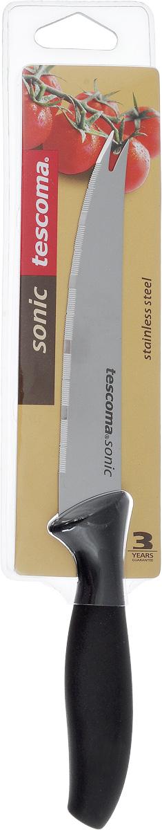 Нож для овощей Tescoma Sonic, длина лезвия 12 см54 009312Нож Tescoma Sonic предназначен специально для бережного нарезания овощей или фруктов. Лезвие выполнено из высококачественной нержавеющей стали, а ручка из прочного пластика с противоскользящим покрытием. Изделие легко чиститься. Можно мыть в посудомоечной машине. Общая длина ножа: 23 см.Длина лезвия: 12 см.