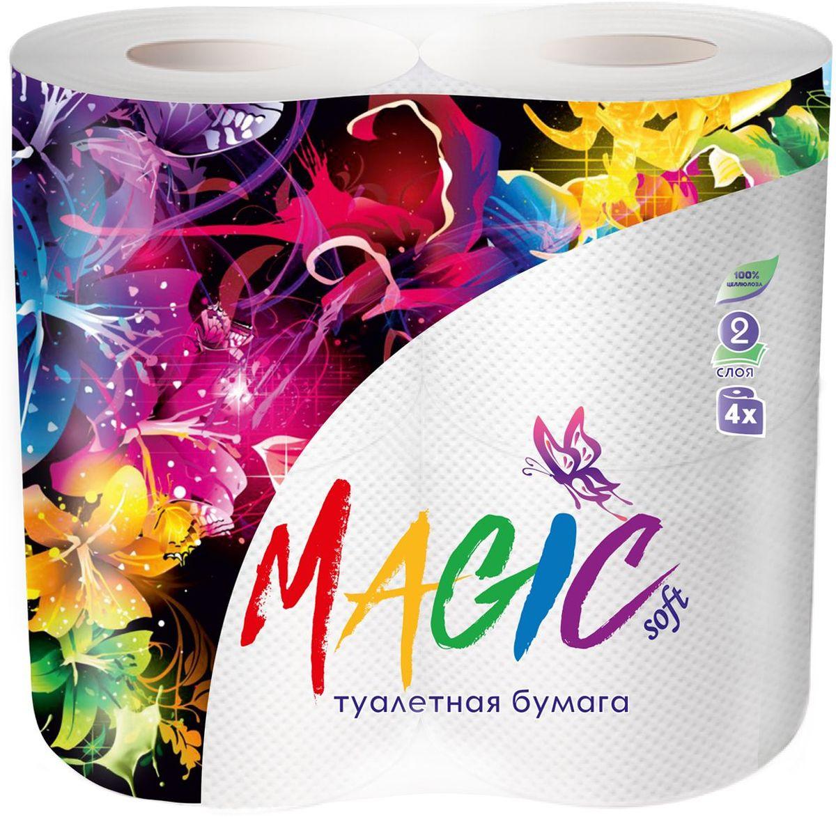 Туалетная бумага Magic Soft, цвет: белый, 4 рулона20010Туалетная бумага Magic имеет 2 слоя. Она предназначена для бытового и санитарно-гигиенического назначения. Одноразового использования.В комплекте: 4 рулона.