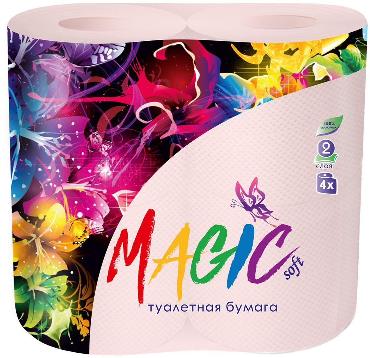 Туалетная бумага Magic Soft, цвет: розовый, 4 рулона391602Для бытового и санитарно-гигиенического назначения. Одноразового использования.