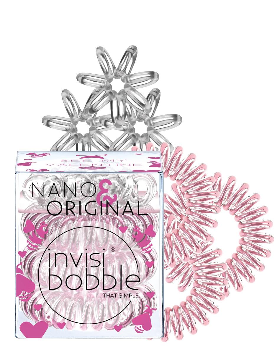 Набор резинок для волос invisibobble Bee MineSatin Hair 7 BR730MNОригинальные резинки-браслеты invisibobble в форме телефонного шнура, созданные в Германии. В эксклюзивном наборе Bee Mine, резиночки invisibobble® ORIGINAL (Rose Muse) и NANO (Crystal Clear) как две половинки объединяются вместе! Резинки invisibobble® помогут быстро и просто создать причёску на любой случай! Резинки invisibobble подходят для всех типов волос, не оставляют заломов и не вызывают головную боль благодаря неравномерному распределению давления на волосы. Кроме того, они не намокают и не вызывают аллергию при контакте с кожей, поскольку изготовлены из искусственной смолы.