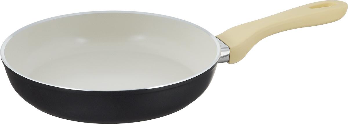 Сковорода Attribute Avorio, с керамическим покрытием. Диаметр 24 см54 009312Сковорода Attribute Avorio изготовлена из алюминия с высококачественным керамическим покрытием. Керамика не содержит вредных примесей ПФОК, что способствует здоровому и экологичному приготовлению пищи. Кроме того, с таким покрытием пища не пригорает и не прилипает к стенкам, поэтому можно готовить с минимальным добавлением масла и жиров. Гладкая, идеально ровная поверхность сковороды легко чистится.Эргономичная ручка специального дизайна выполнена из пластика с покрытием soft-touch, удобна в эксплуатации.Сковорода подходит для использования на всех типах плит, но кроме индукционных. Также изделие можно мыть в посудомоечной машине.Высота стенки: 4,5 см. Длина ручки: 19 см.