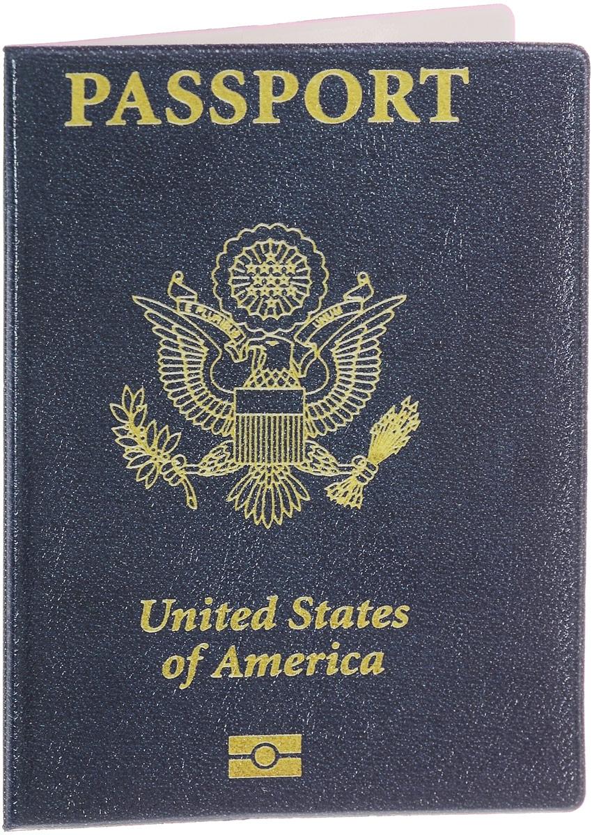 """Обложка для паспорта Эврика """"United States of Amerika"""", цвет: темно-синий, желтый. 94125"""