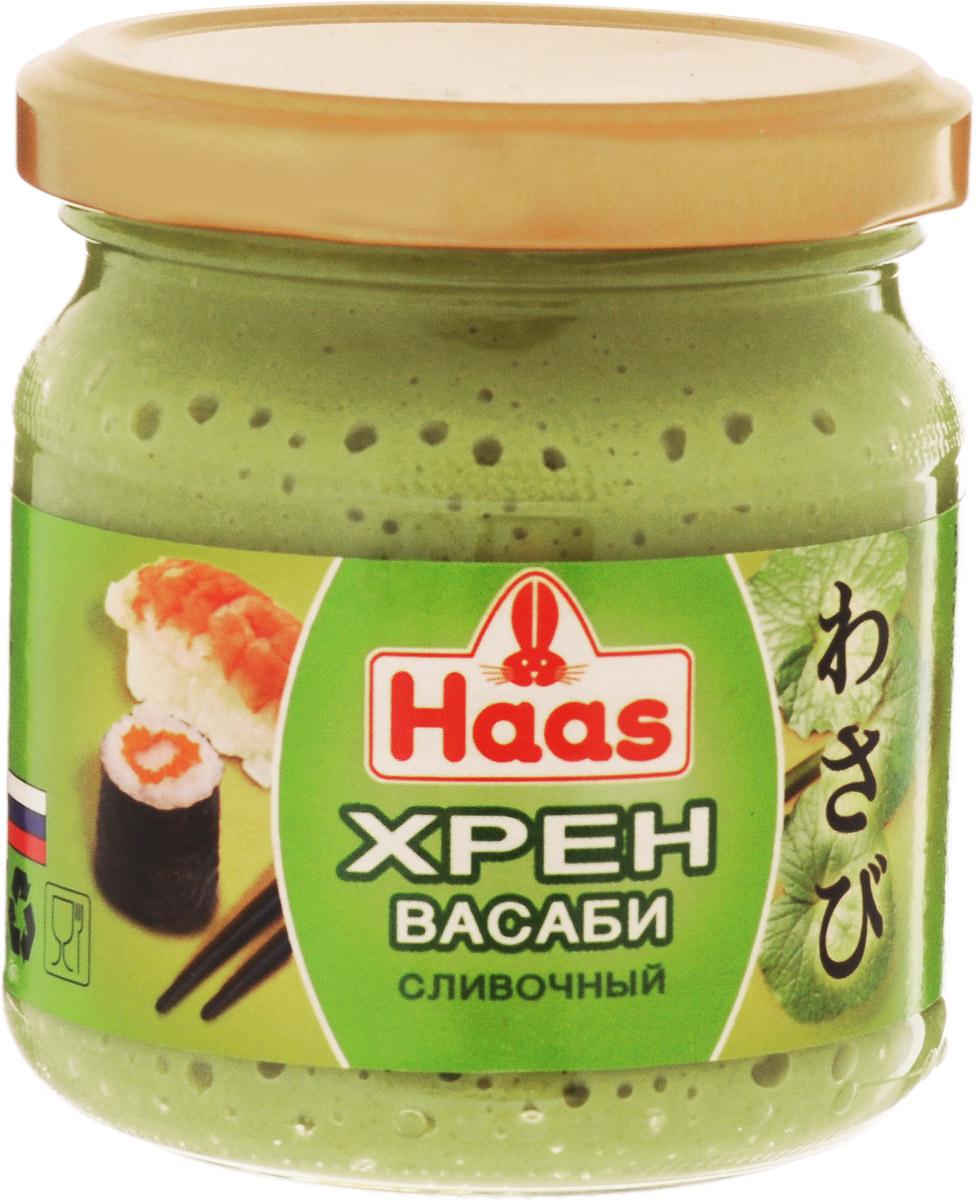 Haas хрен васаби сливочный, 190 г6510Хрен Васаби с кремовой текстурой подойдет даже привередливым гурманам. Соус прекрасно дополнит суши, блюда из рыбы или ракообразных.Уважаемые клиенты! Обращаем ваше внимание, что полный перечень состава продукта представлен на дополнительном изображении.