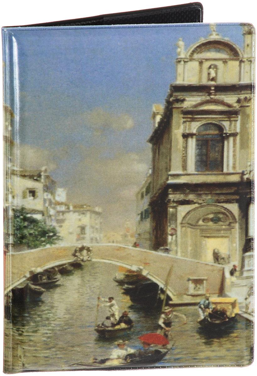 Обложка для паспорта Эврика Венеция, цвет: зеленый, голубой, бежевый. 9650896508Стильная обложка для паспорта Эврика Венеция выполнена из ПВХ. Обложка оформлена изображением Венеции, которое нанесено специальным образом и защищено от стирания. Внутри расположены боковые прозрачные карманы из ПВХ для фиксации паспорта.