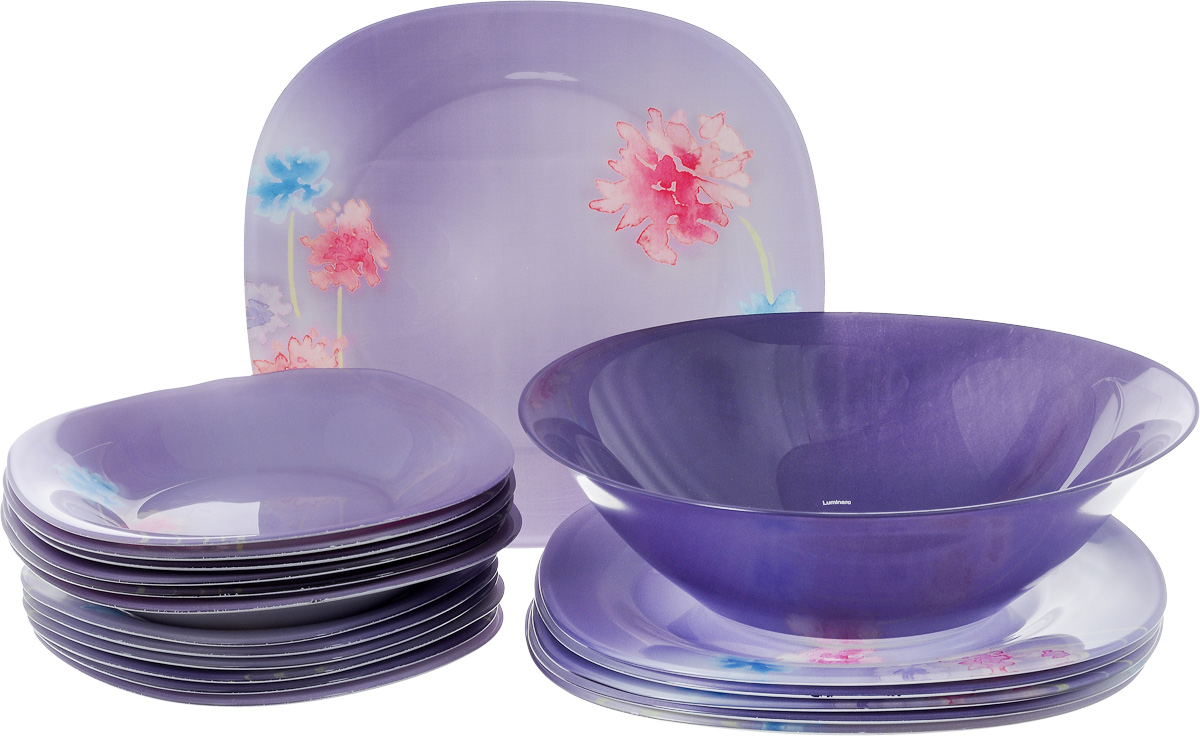 Столовый набор Luminarc Angel Purple, 19 прeдметов115510Столовый набор Luminarc Angel Purple состоит из 6 суповых тарелок, 6 обеденных тарелок, 6 десертных тарелок и салатника. Изделия выполнены из ударопрочного стекла, с ярким цветочным дизайном. Посуда отличается прочностью, гигиеничностью и долгим сроком службы, она устойчива к появлению царапин и резким перепадам температур. Такой набор прекрасно подойдет как для повседневного использования, так и для праздников или особенных случаев. Столовый набор Luminarc Angel Purple - это не только яркий и полезный подарок для родных и близких, это также великолепное дизайнерское решение для вашей кухни или столовой. Изделия можно мыть в посудомоечной машине и использовать в СВЧ-печи. Диаметр суповой тарелки: 20 см. Диаметр обеденной тарелки: 25 см. Диаметр десертной тарелки: 18 см.Диаметр салатника: 27 см. Высота стенки салатника: 8 см.