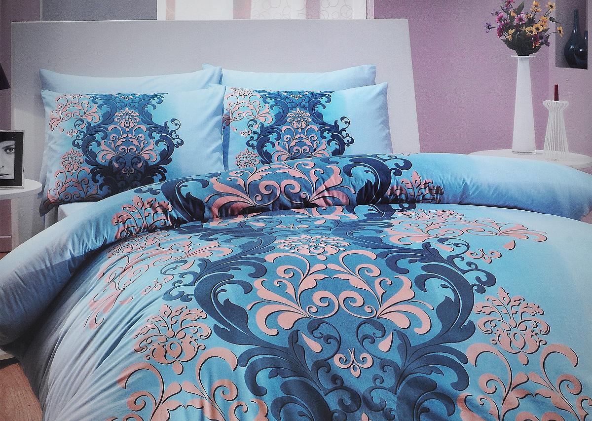 Комплект белья Hobby Home Collection Almeda, семейный, наволочки 50x70, 70x70, цвет: синий391602Комплект белья Hobby Home Collection Almeda состоит из простыни, 2 пододеяльников и 4 наволочек. Белье выполнено из ранфорса - это ткань из 100% натурального хлопка, которая легко стирается, практичнее льна, подстраивается под температуру воздуха - зимой на таком белье тепло, летом - прохладно. Мягкость и нежность материала создает чувство комфорта и защищенности. У хлопка хорошая проводимость тепла, поэтому постельное белье из него может надолго оставаться свежим. Постельное белье с оригинальными дизайнами станет отличным выбором для людей, стремящихся всегда быть в центре внимания.