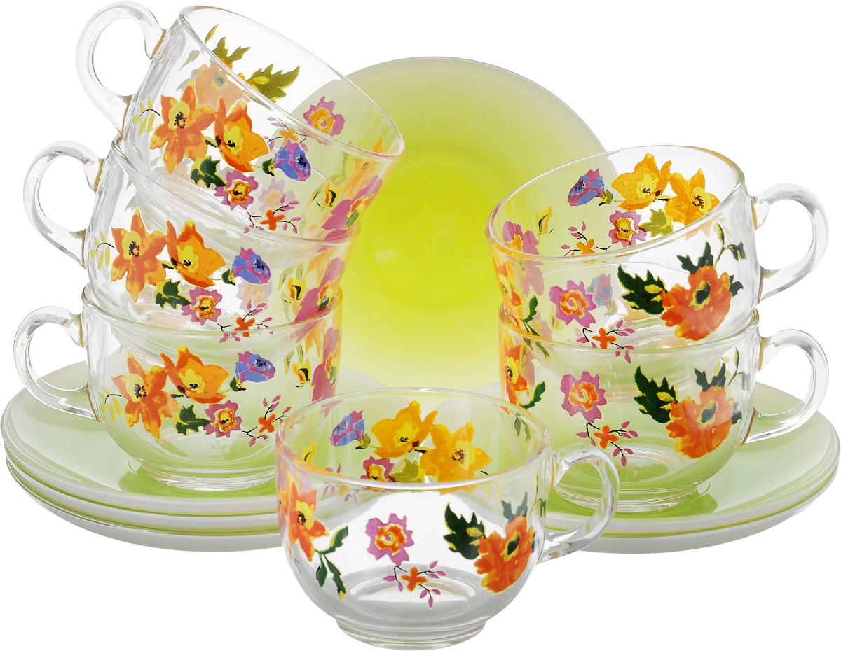 Набор чайный Luminarc Maritsa Green, 12 предметов115510Чайный набор Luminarc Maritsa Green состоит из 6 чашек и 6 блюдец. Изделия выполнены из высококачественного ударопрочного стекла, украшены красивым цветочным узором. Посуда отличается прочностью, гигиеничностью и долгим сроком службы, она устойчива к появлению царапин и резким перепадам температур. Такой набор прекрасно подойдет как для повседневного использования, так и для праздников или особенных случаев. Чайный набор Luminarc - это не только яркий и полезный подарок для родных и близких, это также великолепное дизайнерское решение для вашей кухни или столовой. Изделия можно мыть в посудомоечной машине и использовать в СВЧ-печи. Объем чашки: 220 мл. Диаметр чашки (по-верхнему краю): 8 см. Высота чашки: 6,3 см.Диаметр блюдца: 13,5 см.Высота блюдца: 2 см.