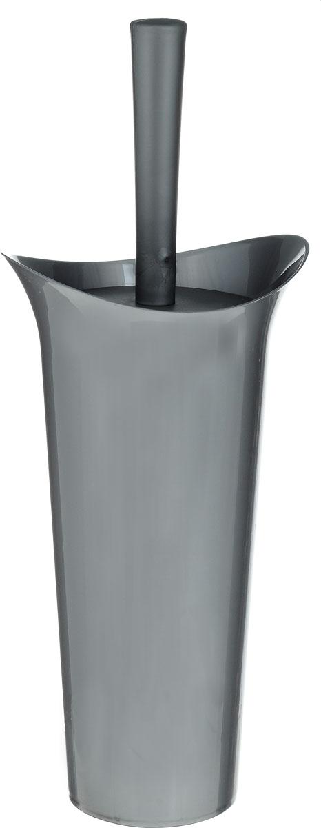 Ершик для унитаза Idea Лотос, с подставкой, цвет: темно-серый, высота 36 смAL-005Ершик для унитаза Idea Лотос выполнен из пластика с жестким ворсом. Он хранится в специальной подставке, а также оснащен крышкой, которая плотно прилегает к подставке. Ерш отлично чистит поверхность, а грязь с него легко смывается водой.Стильный дизайн изделия притягивает взгляд и прекрасно подойдет к интерьеру туалетной комнаты.Длина ершика (с ручкой): 36 см. Размер рабочей части ершика: 7 х 7 х 8 см.Размер подставки: 12,5 х 15 х 27 см.