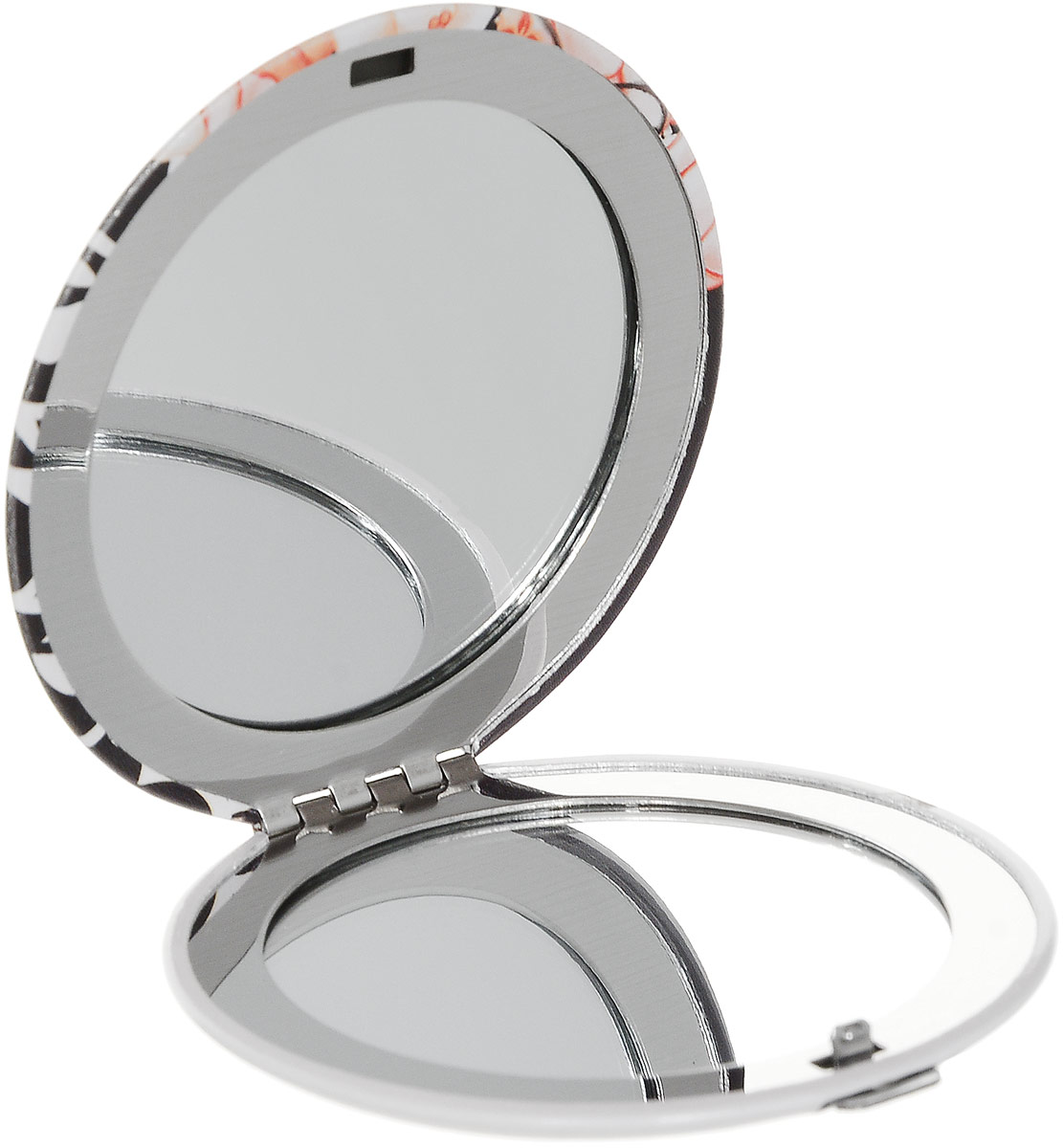 Зеркало карманное Kimmidoll Кайо. KF1119перфорационные unisexИзящное зеркало Kimmidoll Кайо выполнено в круглом металлическом корпусе и декорировано ярким изображением. Внутри корпуса расположено два зеркальца - обычное и увеличивающее.Такое зеркало станет отличным подарком представительнице прекрасного пола, ведь даже самая маленькая дамская сумочка обязательно вместит в себя миниатюрное зеркальце - атрибут каждой модницы.