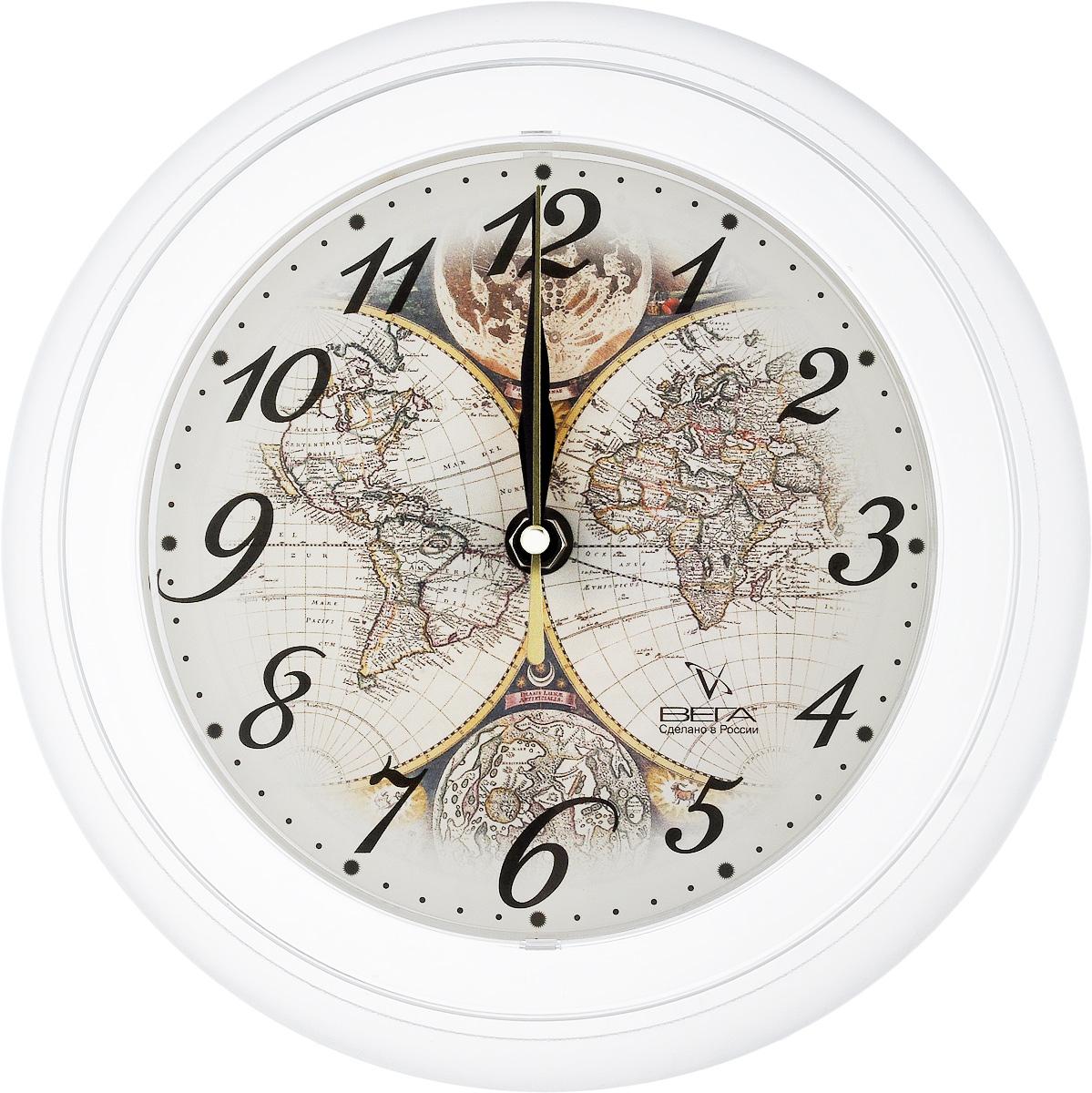 Часы настенные Вега Карта, диаметр 22,5 смП6-0-14Настенные кварцевые часы Вега Карта, изготовленные из пластика, прекрасно впишутся в интерьер вашего дома. Круглые часы имеют три стрелки: часовую, минутную и секундную, циферблат защищен прозрачным стеклом. Часы работают от 1 батарейки типа АА напряжением 1,5 В (не входит в комплект). Диаметр часов: 22,5 см.
