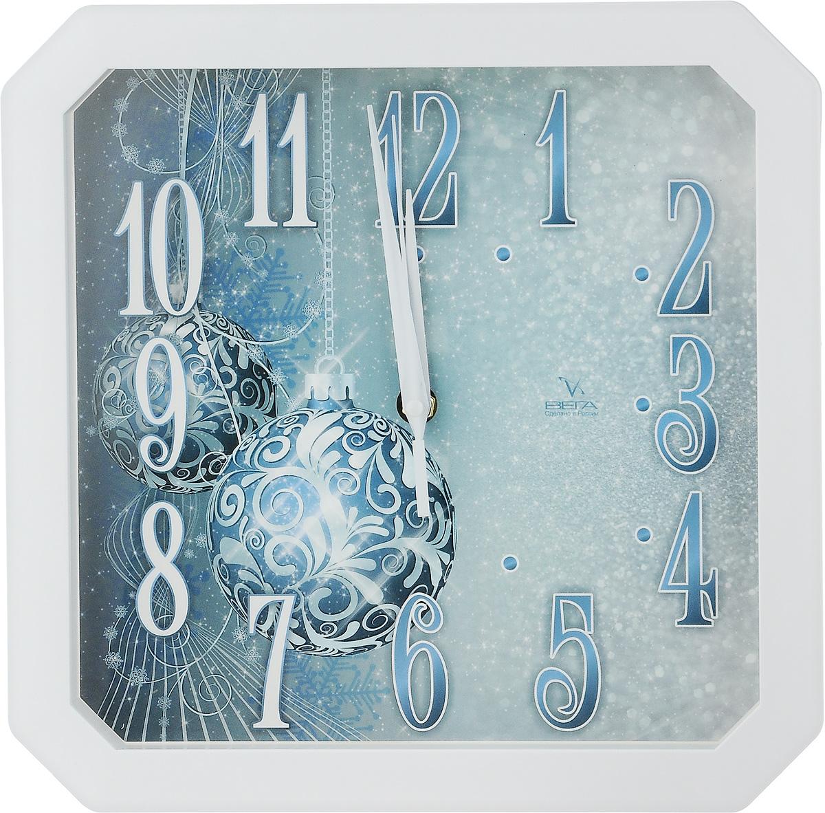 Часы настенные Вега Шары, 28 х 28 х 4 смП2-7/7-17Настенные кварцевые часы Вега Шары, изготовленные из пластика, прекрасно впишутся в интерьер вашего дома. Часы имеют три стрелки: часовую, минутную и секундную, циферблат защищен прозрачным стеклом. Часы работают от 1 батарейки типа АА напряжением 1,5 В (не входит в комплект).