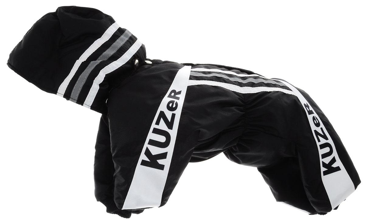 Комбинезон для собак Kuzer-Moda Игла, утепленный, для мальчика, цвет: черный, белый. Размер MDM-150343-1Комбинезон для собак Kuzer-Moda  Игла отлично подойдет для прогулок в прохладную погоду.Комбинезон изготовлен из прочной, ткани, которая сохранит тепло и обеспечит отличный воздухообмен. Комбинезон с капюшоном застегивается на кнопки, благодаря чему его легко надевать и снимать. Капюшон пристегивается при помощи кнопок. Ворот, низ рукавов и брючин оснащены трикотажными резинками, которые мягко обхватывают шею и лапки, не позволяя просачиваться холодному воздуху. Изделие снабжено светоотражающей лентой. На пояснице имеются затягивающиеся шнурки, которые также не позволяют проникнуть холодному воздуху.Благодаря такому комбинезону простуда не грозит вашему питомцу, и он не даст любимцу продрогнуть на прогулке.Длина по спинке 31 см.