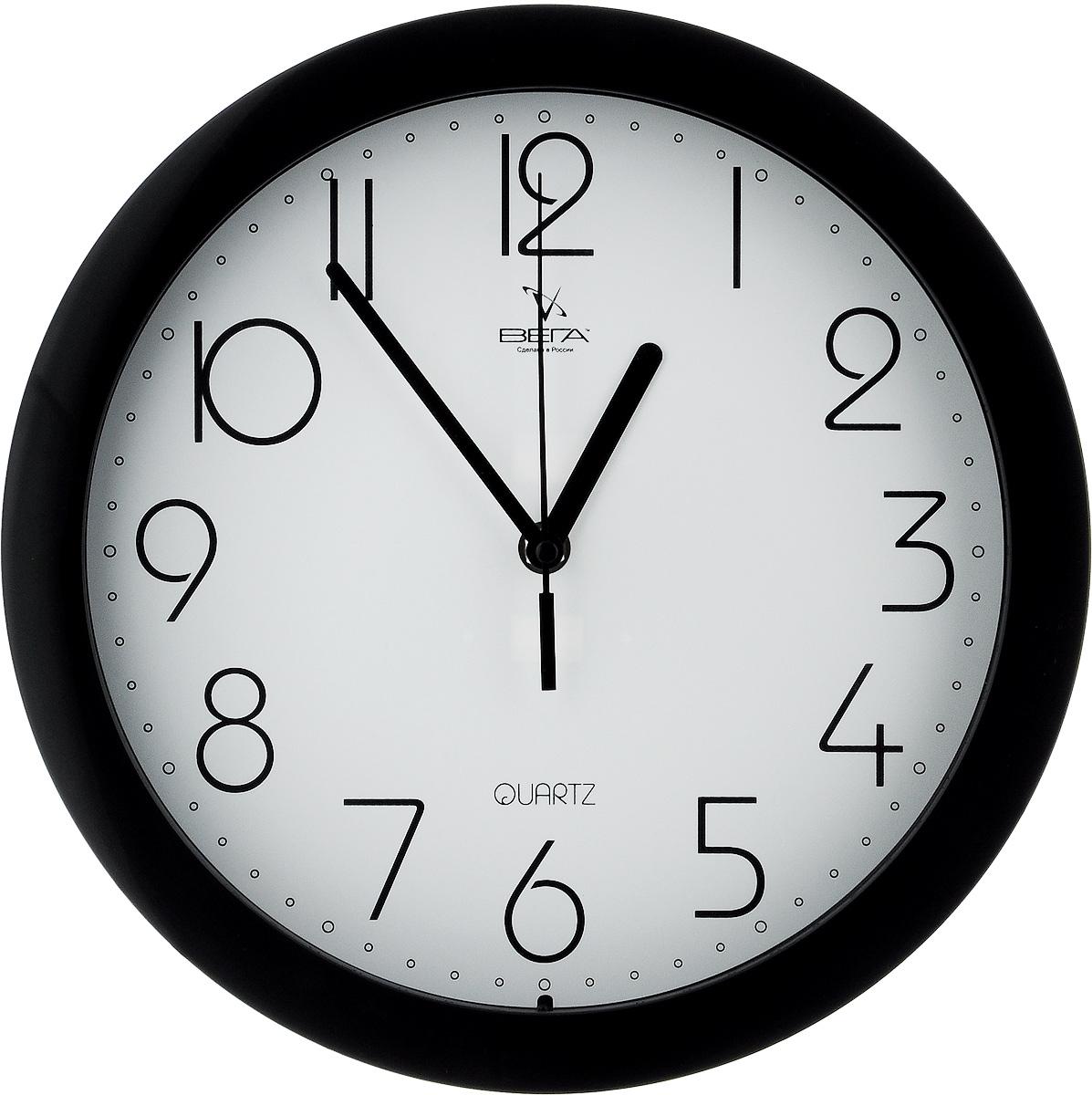 Часы настенные Вега Классика, цвет: черный, белый, диаметр 28,5 см. П1-6/694672Настенные кварцевые часы Вега Классика, изготовленные из пластика, прекрасно впишутся в интерьер вашего дома. Круглые часы имеют три стрелки: часовую, минутную и секундную, циферблат защищен прозрачным стеклом. Часы работают от 1 батарейки типа АА напряжением 1,5 В (не входит в комплект). Диаметр часов: 28,5 см.