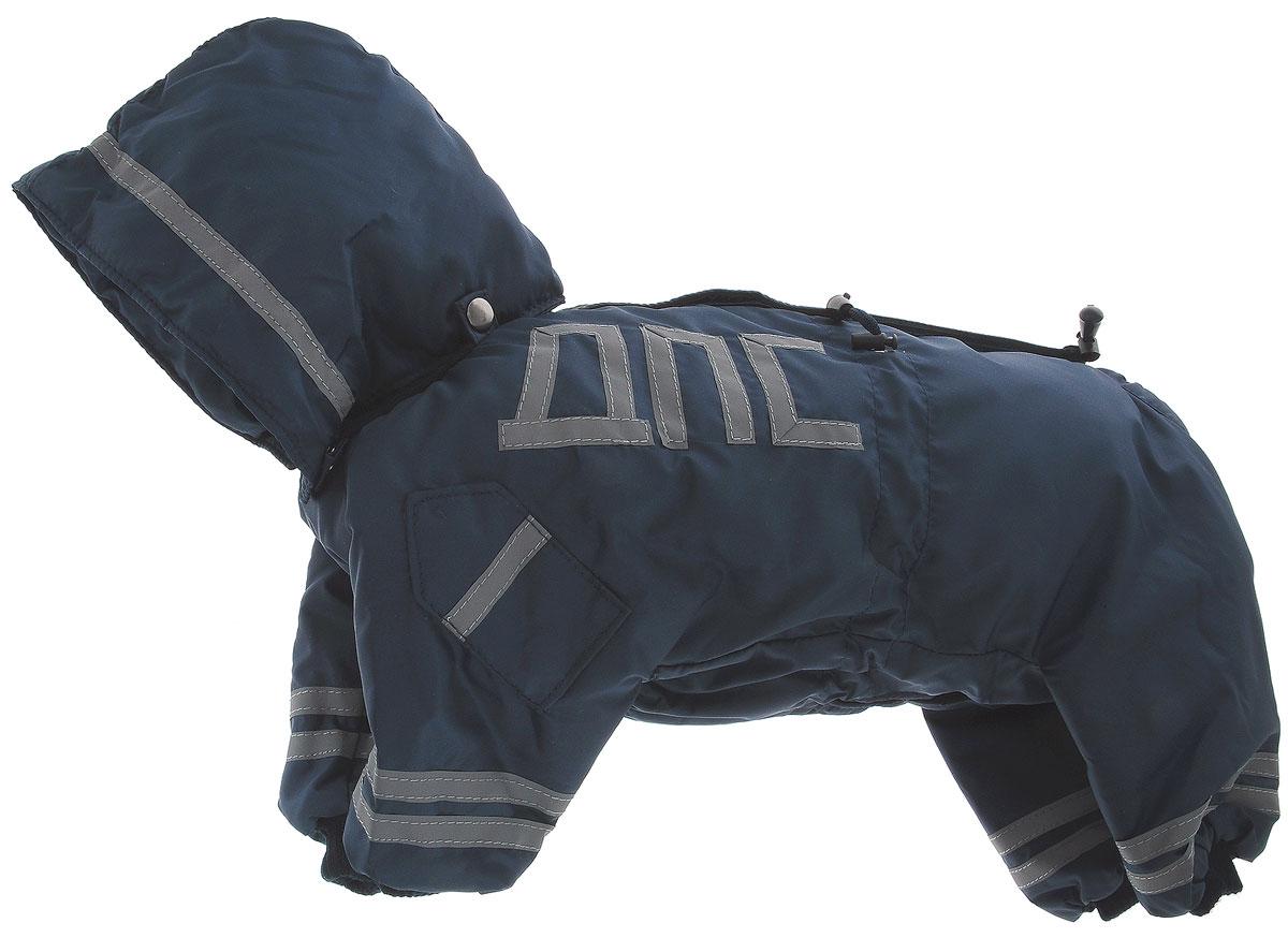 Комбинезон для собак Kuzer-Moda ДПС, для мальчика, утепленный, цвет: синий, серый. Размер M0120710Комбинезон для собак Kuzer-Moda ДПС стилизован под форму сотрудников автоинспекции. Изделие отлично подойдет для прогулок в прохладную погоду.Комбинезон изготовлен из прочной, ткани, которая сохранит тепло и обеспечит отличный воздухообмен. Комбинезон застегивается на кнопки, благодаря чему его легко надевать и снимать. Ворот, низ рукавов и брючин оснащены резинками, которые мягко обхватывают шею и лапки, не позволяя просачиваться холодному воздуху. Изделие снабжено светоотражающей лентой. На пояснице имеются затягивающиеся шнурки, которые также не позволяют проникнуть холодному воздуху.Благодаря такому комбинезону простуда не грозит вашему питомцу, и он не даст любимцу продрогнуть на прогулке.