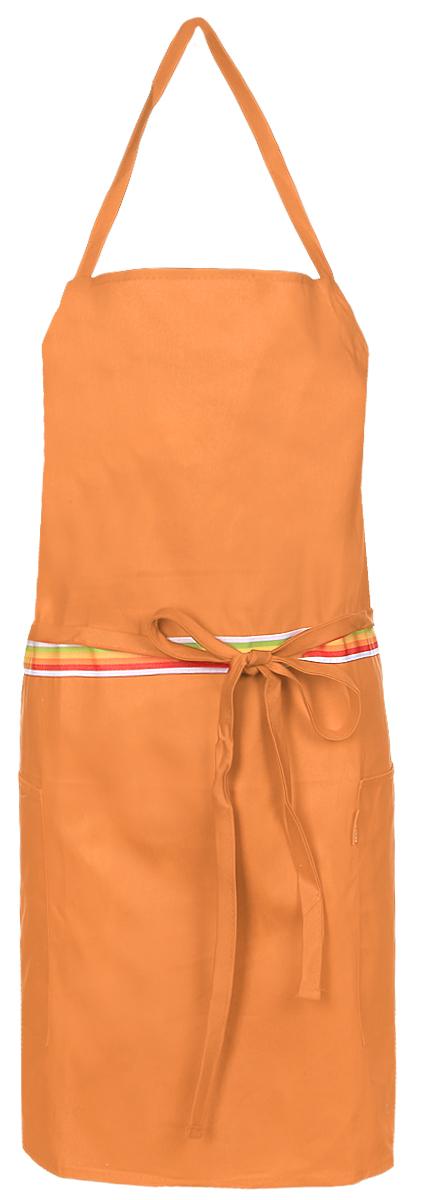 Фартук кухонный Tescoma Presto Tone, цвет: оранжевый. 6397621004900000360Кухонный фартук Presto Tone изготовлен из 100% хлопка. Регулируемый шейный ремешок поможет подогнать фартук по росту. Удлиненный пояс можно завязать сзади или обернуть вокруг талии. Фартук имеет два накладных кармана для различных кухонных аксессуаров, а также съемный карман, куда можно положить телефон или другие мелкие предметы.Размер фартука: 73 х 67 см.