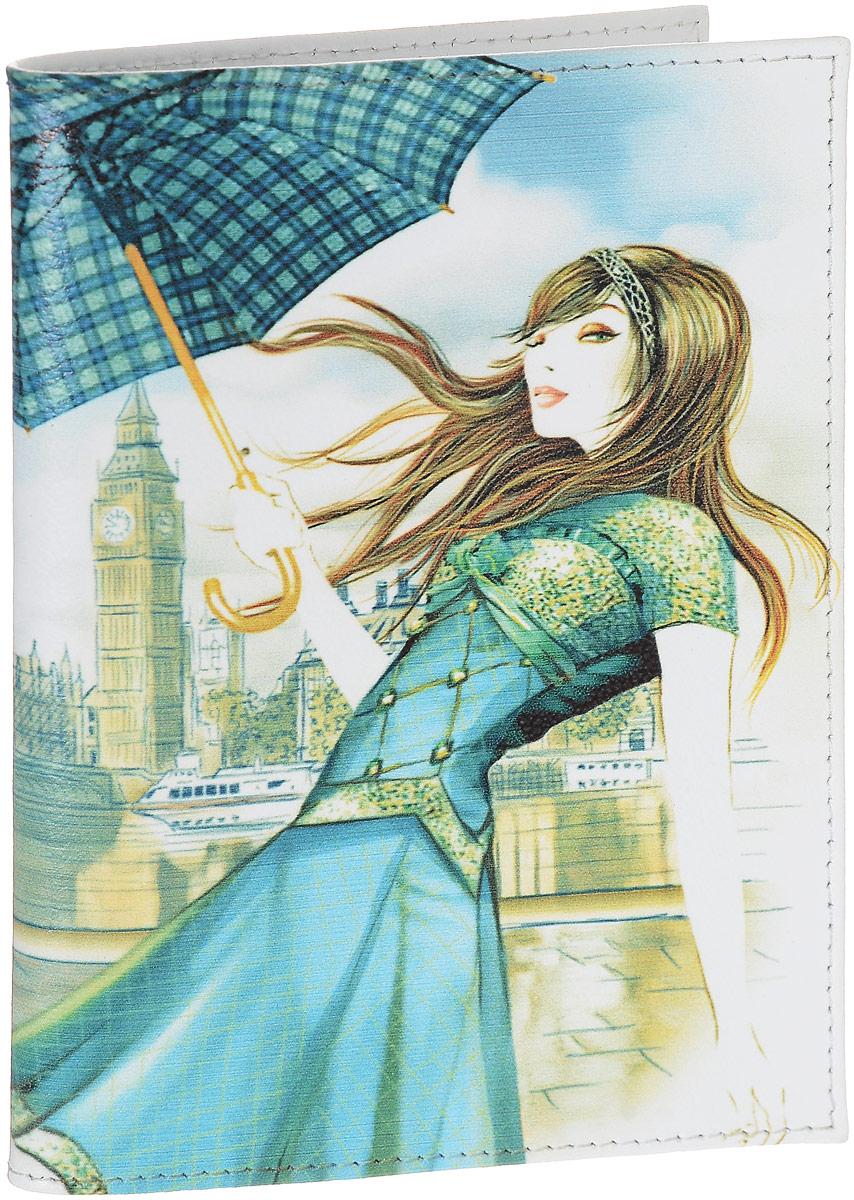 Обложка для паспорта женская Perfecto Лондон, цвет: белый, голубой, бежевый. PS-GL-10335679Женская обложка для паспорта Perfecto Лондон, выполненная из натуральной кожи, оформлена авторским рисунком. Внутри расположены боковые прозрачные карманы из ПВХ для фиксации паспорта. Такая обложка не только поможет сохранить внешний вид ваших документов, но и станет стильным аксессуаром, идеально подходящим вашему образу. Характеристики: Материал: натуральная кожа. Размер: 9,5 см х 13,5 см. Артикул:PS-GL-103.Производитель: Россия.