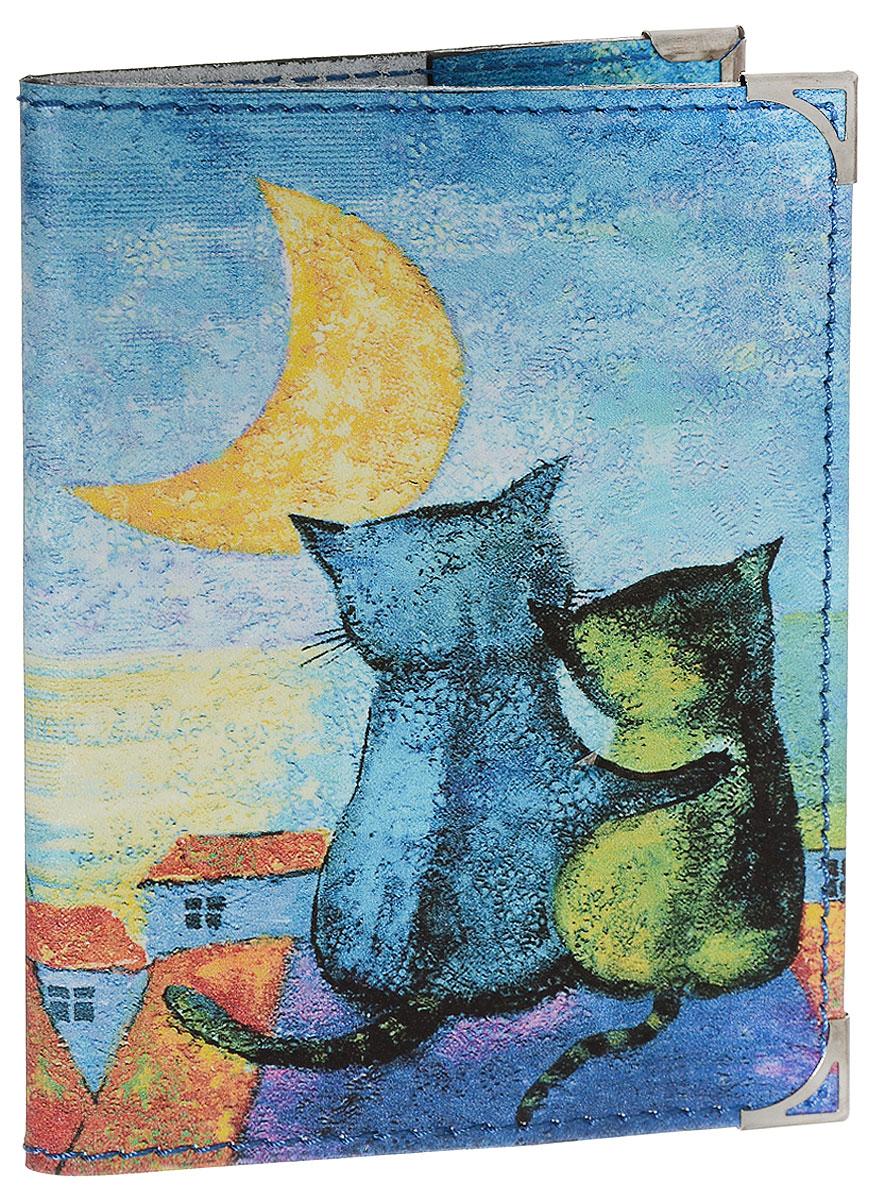 Обложка для паспорта BORЯN На крыше, цвет: синий, желтый, оранжевый. Авторская работа. BR502A52_108Обложка для паспорта BORЯN На крыше выполнена из натуральной кожи. Оформлена модель оригинальным принтом. Внутри - захваты из натуральной кожи.