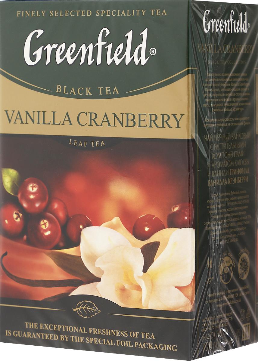 Greenfield Vanilla Cranberry черный листовой чай, 100 г1117-15Теплая волна ванили наполняет новым дыханием великолепный цейлонский чай в композиции Гринфилд Ванилла Крэнберри. Прохладный, кисловато-сладкий аромат и свежая морозная горчинка спелой клюквы, виртуозно вплетенные в грани сложного вкуса, завершают великолепную композицию Greenfield Vanilla Cranberry.Уважаемые клиенты! Обращаем ваше внимание, что полный перечень состава продукта представлен на дополнительном изображении.