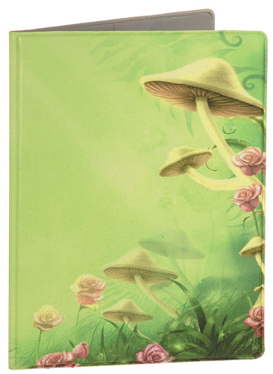 Обложка для паспорта Эврика Грибы, цвет: желтый. 9437644510Обложка для паспорта от Evruka- оригинальный и стильный аксессуар, который придется по душе истинным модникам и поклонникам интересного и необычного дизайна.Качественная обложка выполнена из легкого и прочного ПВХ, который надежно защищает важные документы от пыли и влаги. Рисунок нанесён специальным образом и защищён от стирания. Изделие раскладывается пополам. Внутри размещены два накладных кармашка из прозрачного ПВХ. Простая, но в то же время стильная обложка для паспорта определенно выделит своего обладателя из толпы и непременно поднимет настроение. А яркий современный дизайн, который является основной фишкой данной модели, будет радовать глаз.