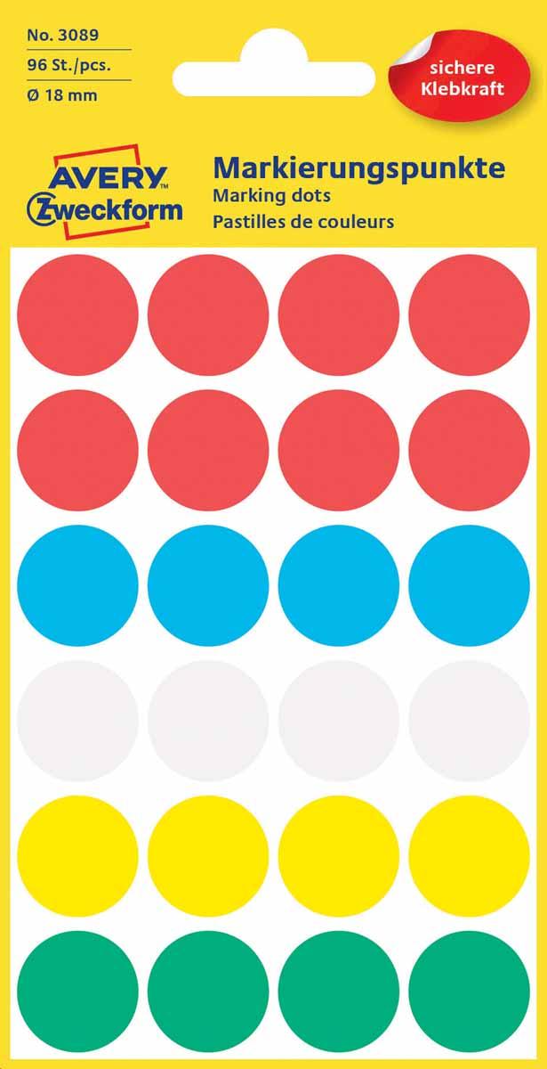 Avery Zweckform Этикетки круглые диаметр 18 мм 96 шт3089Круглые этикетки-точки Avery Zweckform идеальны для пометок, выделения важной информации и напоминаний. Представлены в виде разноцветных (белых, красных, синих, зеленых, желтых) круглых точек диаметром 18 мм. Круглые этикетки удобны для выделения выходных дней и отпусков в календаре, для отметок в рабочем планнинге, на картах.