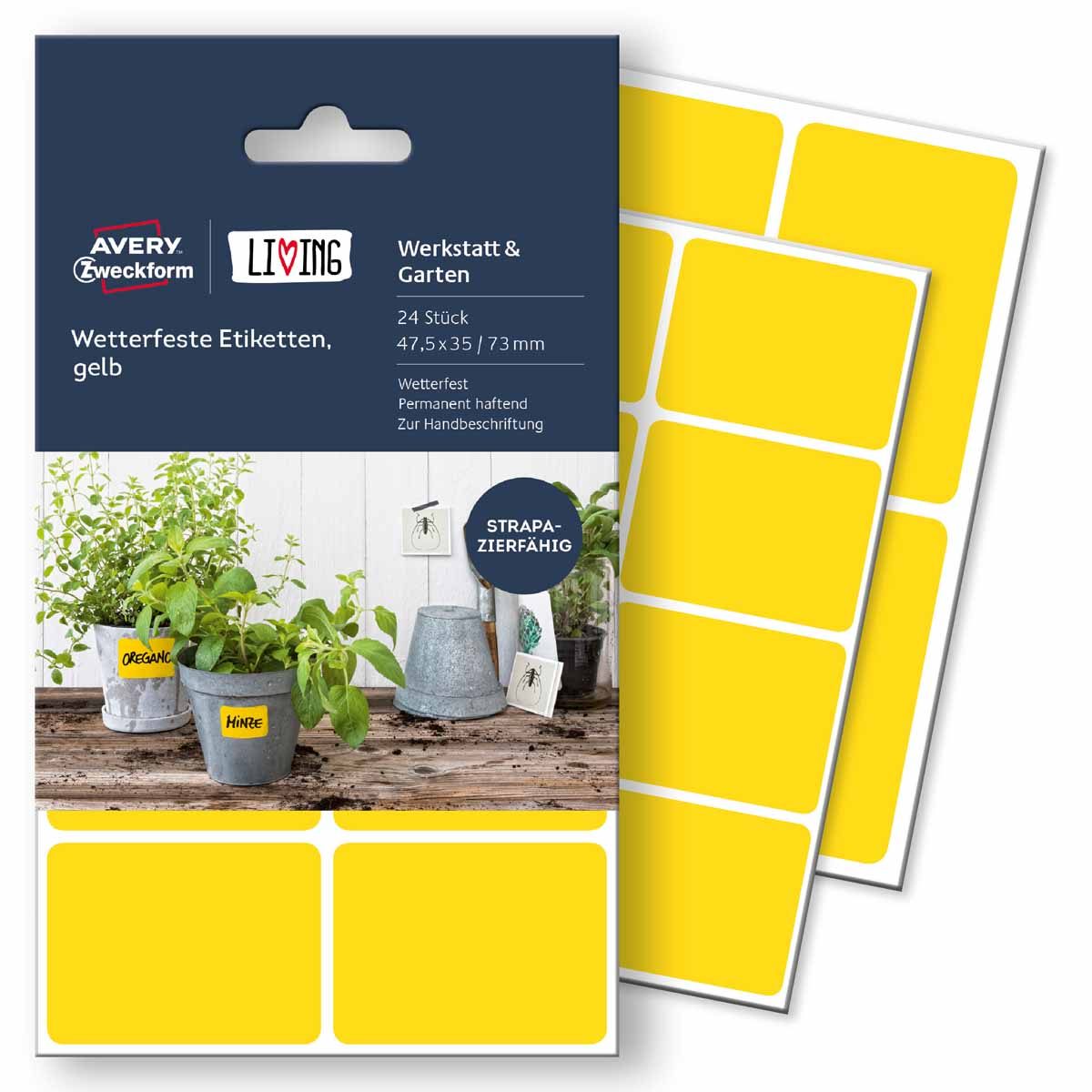 Avery Zweckform Этикетки для дома Living 47,5 х 35 мм цвет желтый62026Для этих этикеток нет плохой погоды! Всепогодные этикетки специально созданы использования на улице. Вы можете наклеивать их на цветочные горшки, почтовые ящики, мусорные баки и т.д. Они отлично выдерживают холода, дожди и прочие погодные условия. Материал: полиэстер. Кол-во: 2 листа/16 этикеток. Применение: для надписи от руки. Область применения: водо-,грязе-, масло-, термостойкие (выдерживают перепад температур от -20 С до + 80 С), надежное крепление на различных поверхностях.Тип клеящейся поверхности: перманентныеЦвет: желтыйРазмеры: 47,5 х 35 ммКоличество листов в упаковке: 4Этикеток на листе: 6Этикеток в упаковке: 24Форма: прямоугольная