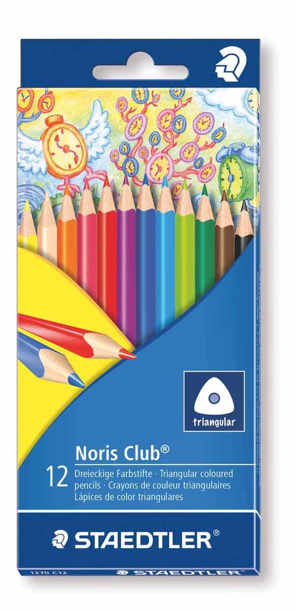 Staedtler Набор цветных карандашей Noris Club 12 цветов 1270C1272523WDЦветные карандаши Staedtler Noris Club обладают классической трехгранной формой. Разработанные специально для детей, они имеют мягкий грифель и насыщенные цвета, а белое защитное покрытие грифеля (А·B·S) делает его более устойчивым к повреждению.С цветными карандашами Noris Club ваши дети будут создавать яркие и запоминающиеся рисунки.