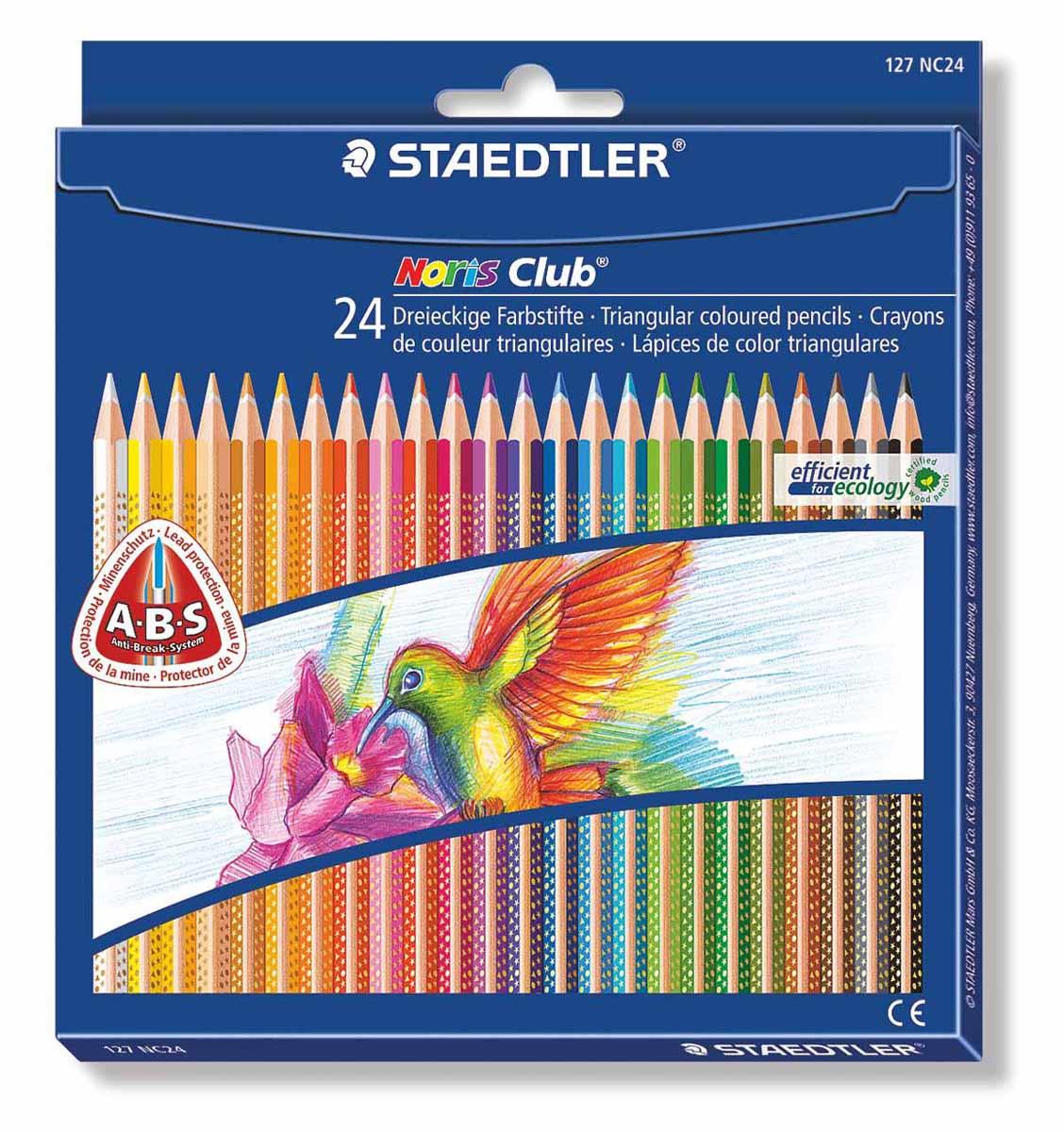 Staedtler Набор цветных карандашей Noris Club 24 цвета127NC24Цветные карандаши Staedtler Noris Club обладают трехгранной формой. Разработанные специально для детей, они имеют мягкий грифель и насыщенные цвета, а белое защитное покрытие грифеля (А·B·S) делает его более устойчивым к повреждению. С цветными карандашами Noris Club ваши дети будут создавать яркие и запоминающиеся рисунки.В наборе 24 карандаша.