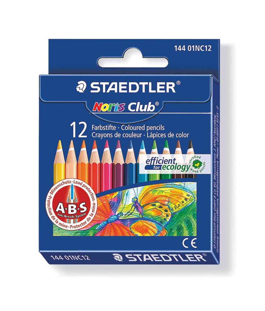 Staedtler Набор цветных карандашей Noris Club 144 12 цветов72523WDЦветные карандаши Staedtler Noris Club обладают классической шестиугольной формой. Разработанные специально для детей они имеют мягкий грифель и насыщенные цвета, а белое защитное покрытие грифеля (А·B·S) делает его более устойчивым к повреждению.С цветными карандашами Noris Club ваши дети будут создавать яркие и запоминающиеся рисунки.Длина карандашей - 88 мм.